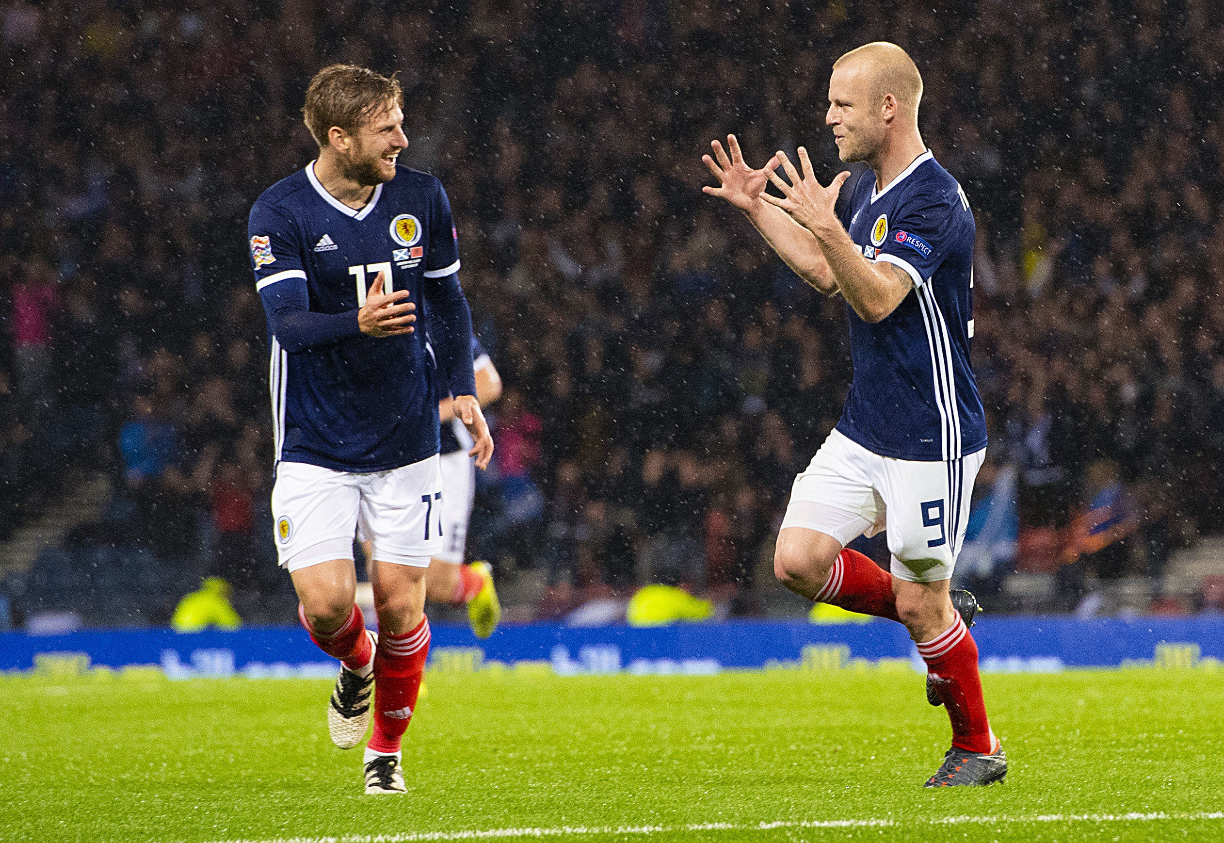 Steven Naismith (right) celebrates Scotland's second goal with Stuart Armstrong (SNS Group / Ross Parker)