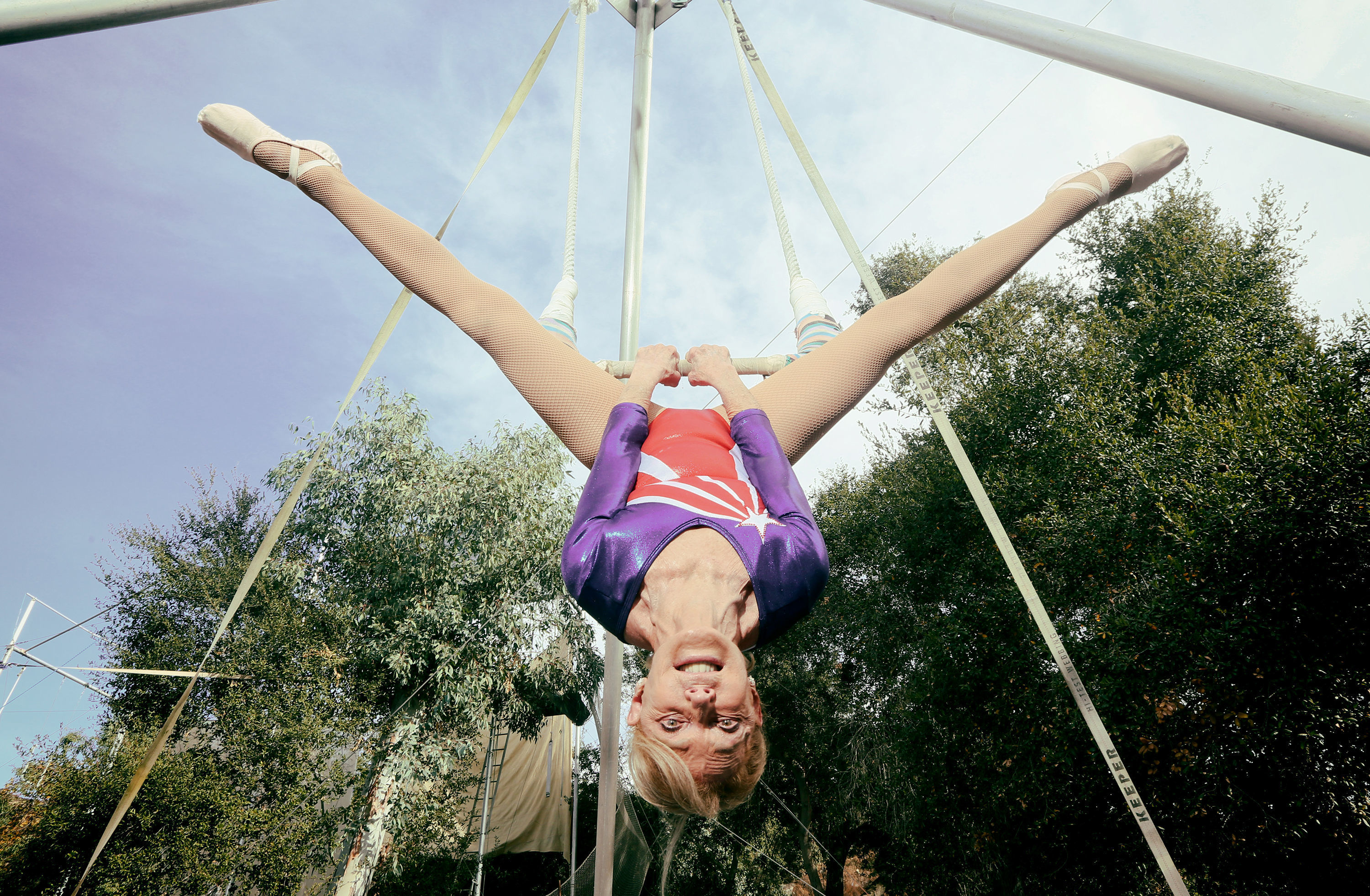 Betty Goedhart, who holds the record for being the Oldest Trapeze Artist (Sandy Huffaker/Guinness World Records/PA Wire)