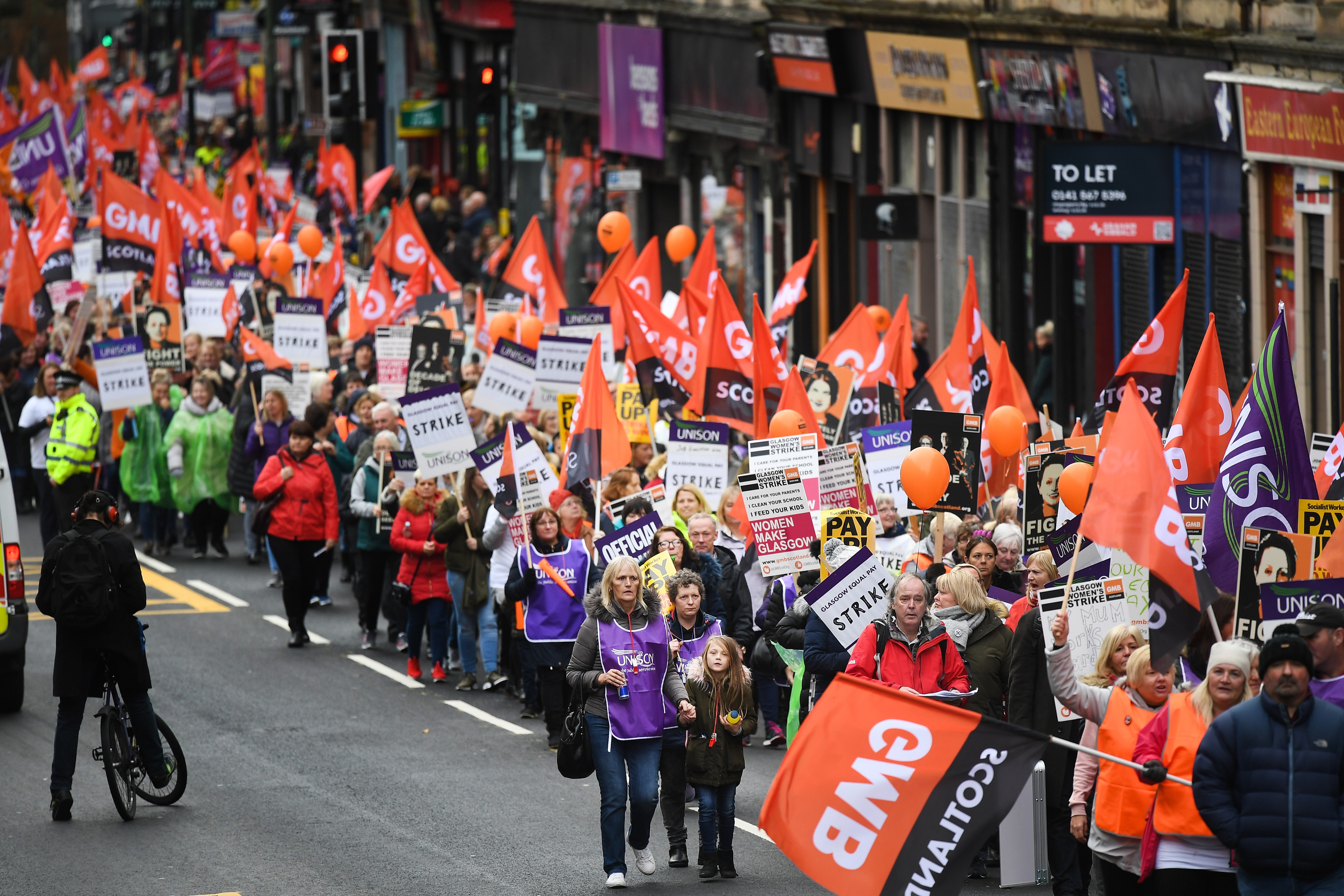 March for equal pay for Glasgow council workers earlier this week (Jeff J Mitchell / Getty Images)