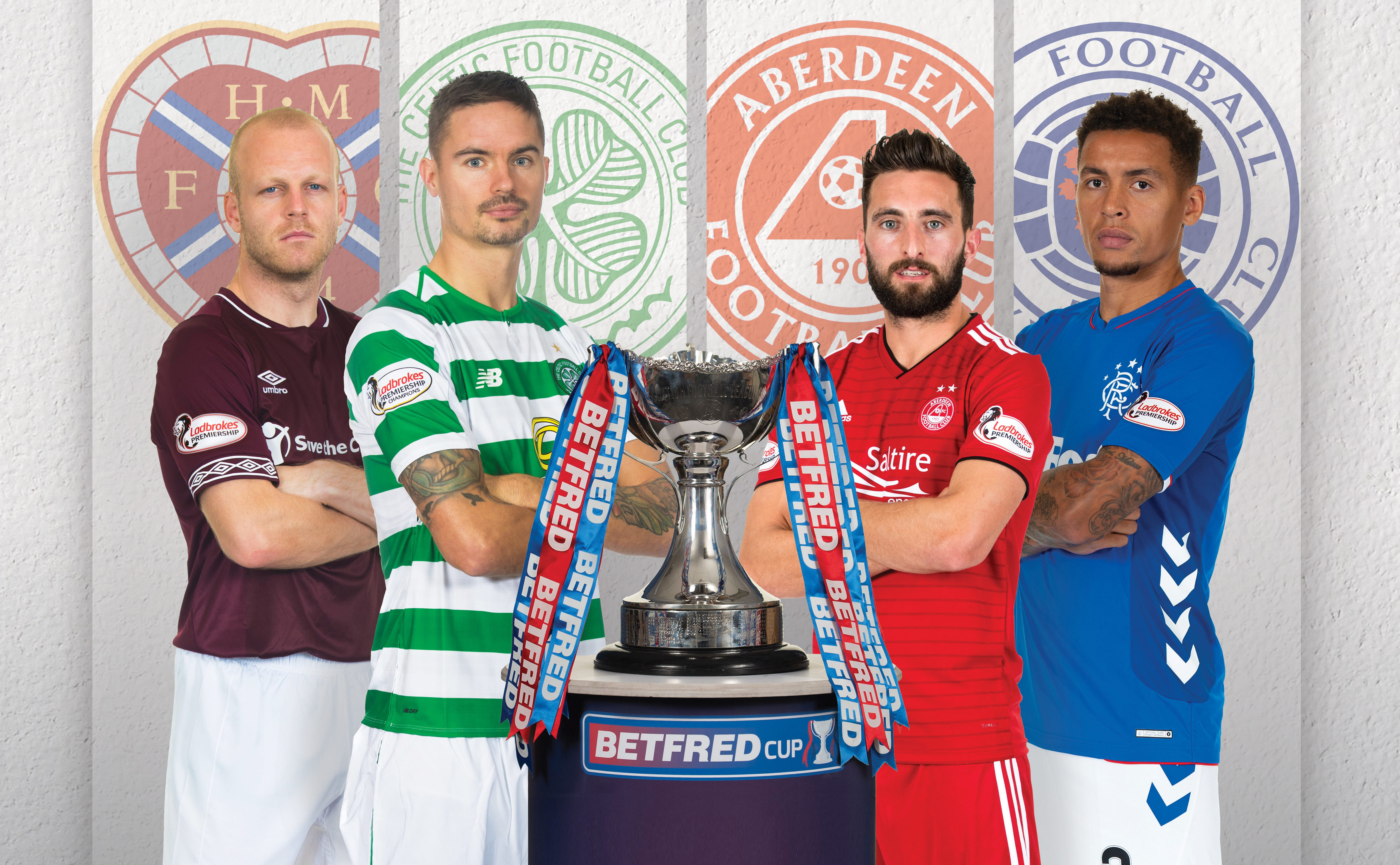 The semi-final captains – Hearts' Steven Naismith, Mikael Lustig of Celtic, Aberdeen's Graeme Shinnie and James Tavernier of Rangers (SNS Group)