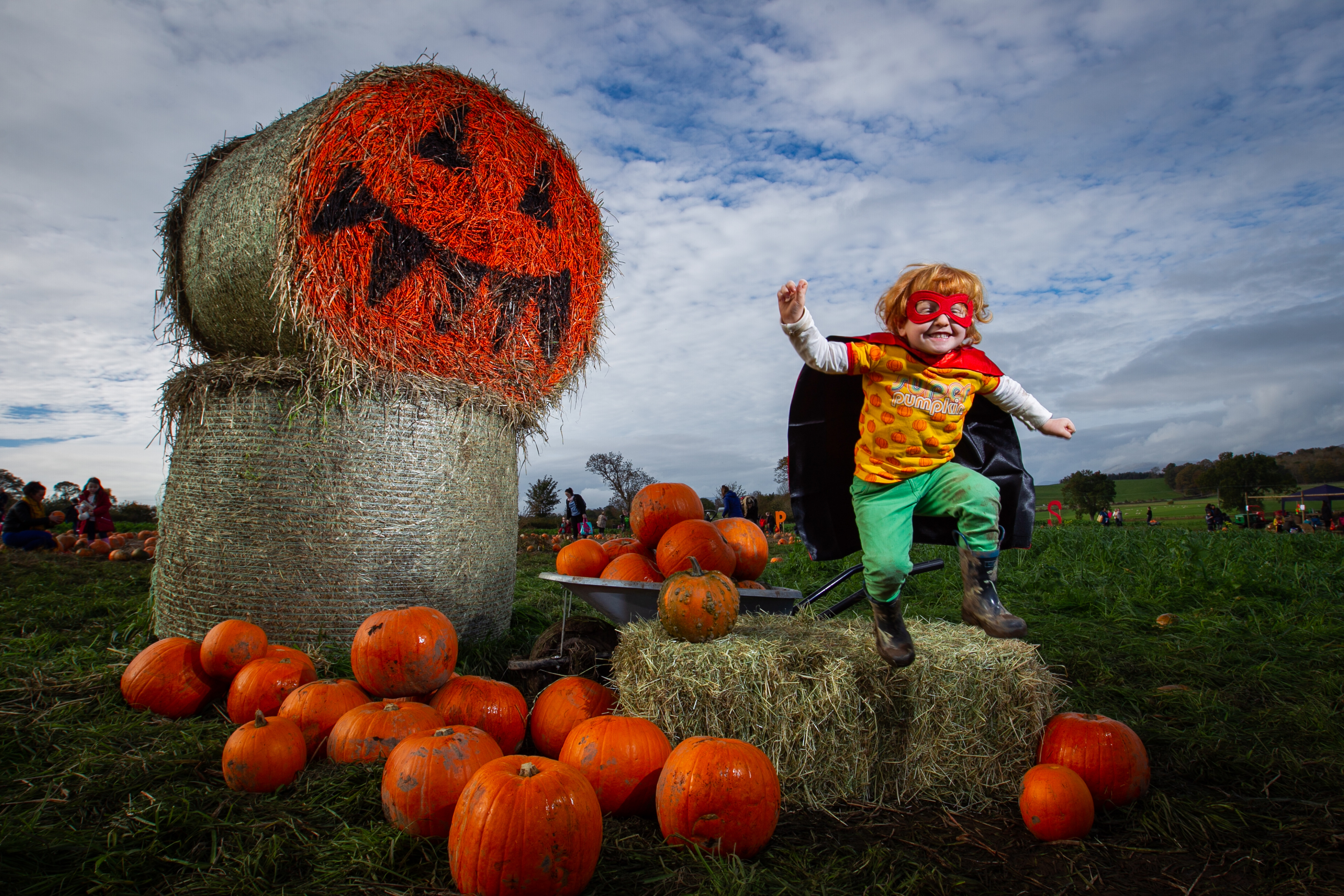 "Archie Robin Rae , (age 3) aka ""Super Pumpkin"", was having a great time at Arnprior Farm, near Kippen, for Pick your Own Pumpkin. (Andrew Cawley)"
