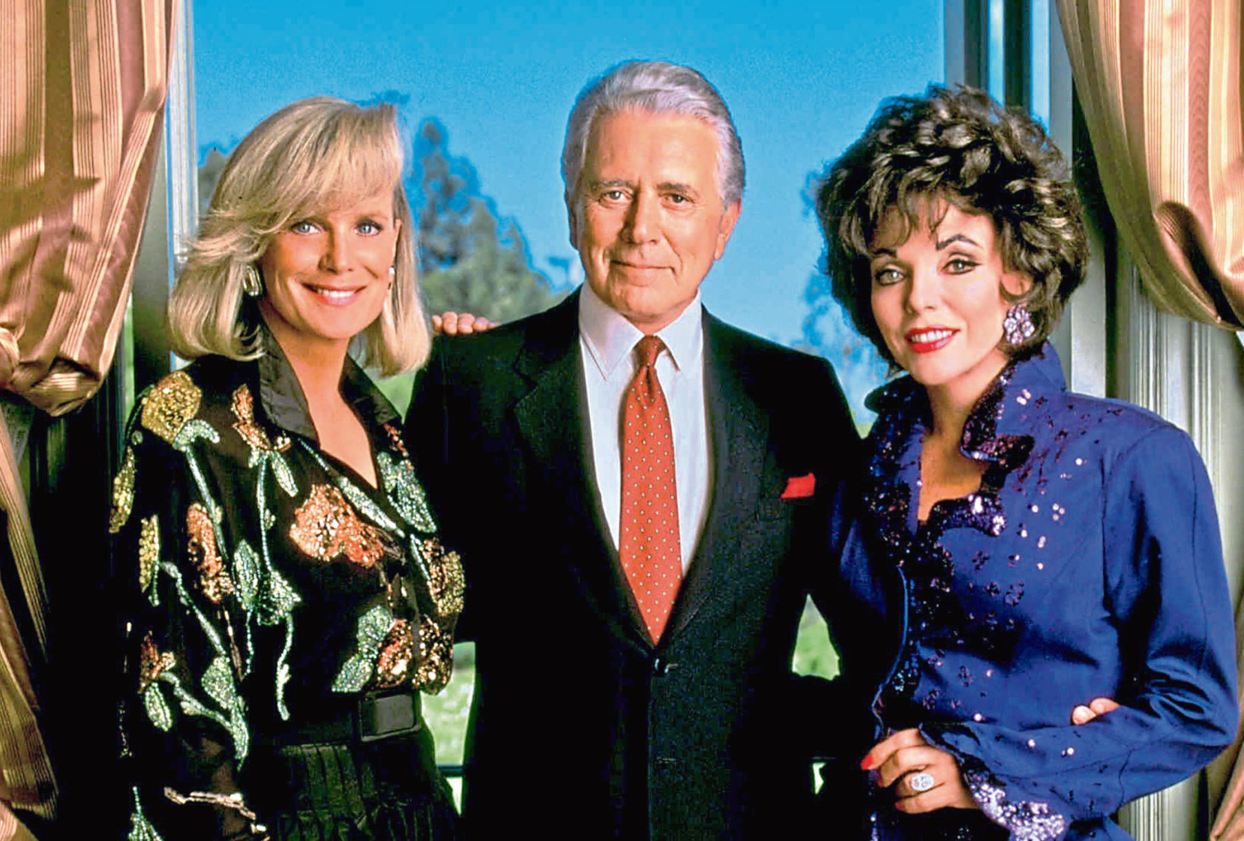 Linda Evans, John Forsythe and Joan Collins in Dynasty (Allstar/AARON SPELLING PROD.)