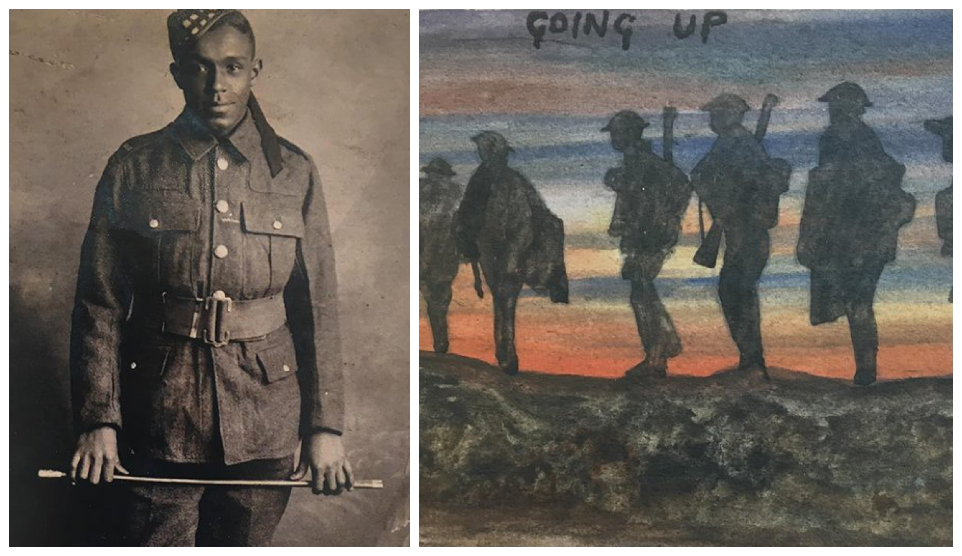 Arthur Roberts, left, and one of the frontline drawings taken from soldier's diary which was found years later in an attic
