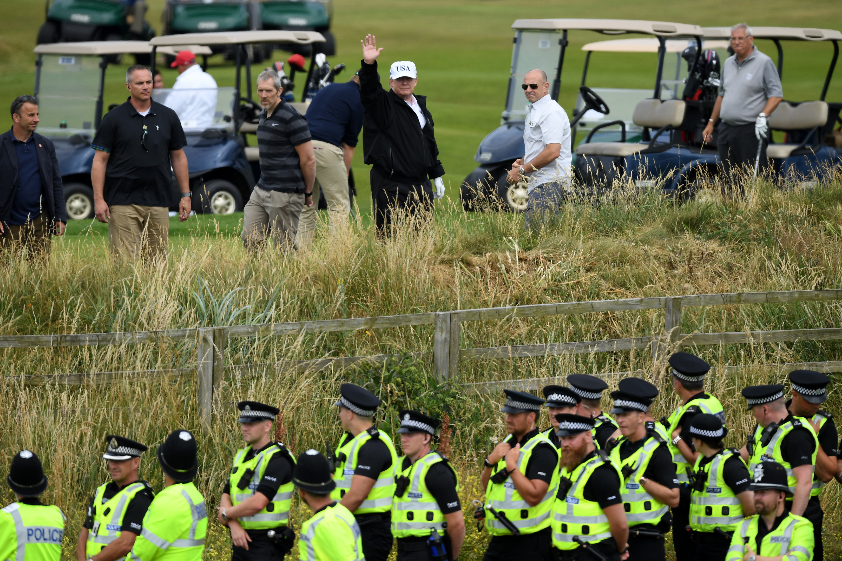 Donald Trump plays golf at Turnberry under tight security (Leon Neal/Getty Images)