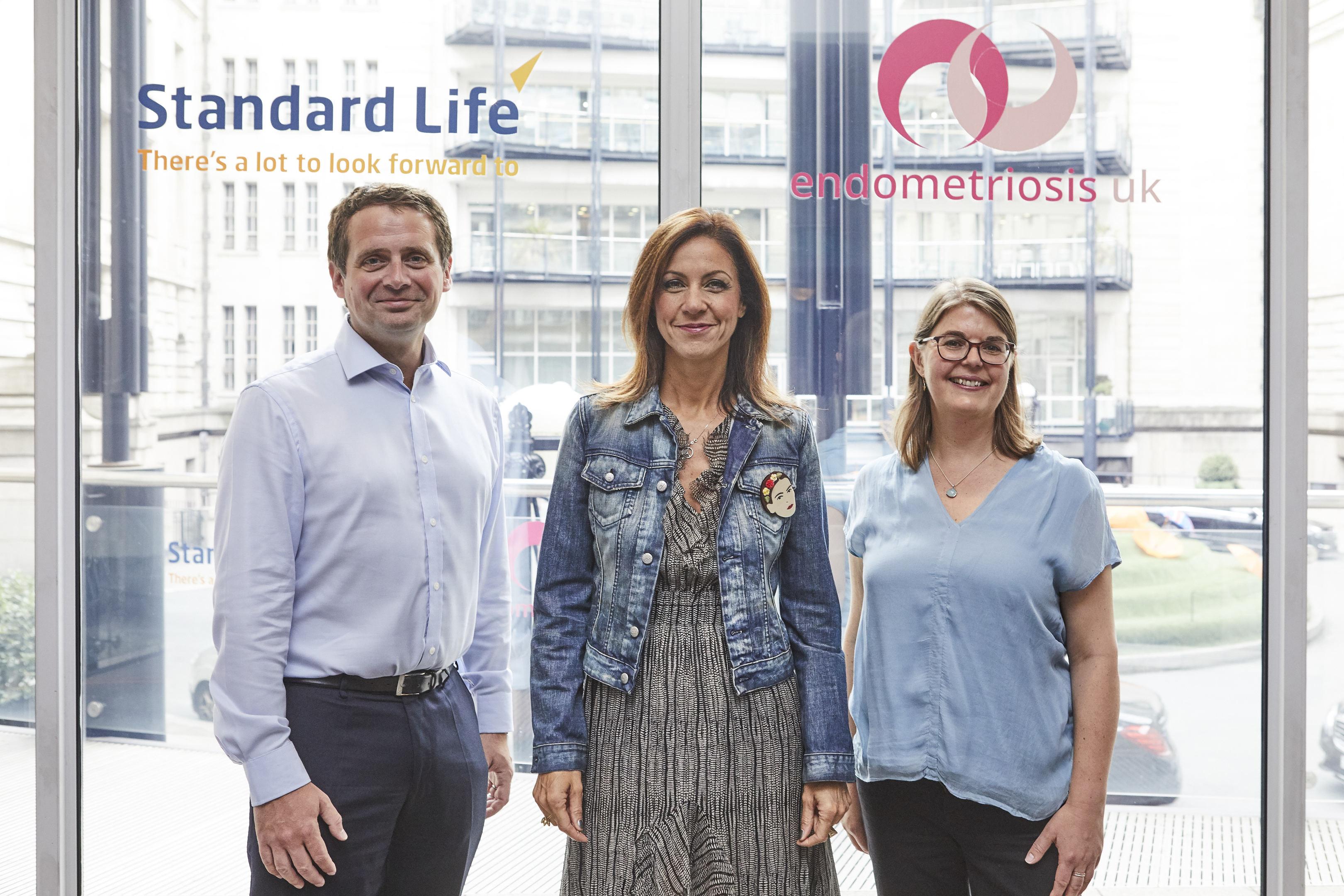 Barry O'Dwyer, CEO of Standard Life Savings, TV presenter and Endometriosis sufferer Julia Bradbury and Emma Cox, CEO Endometriosis UK