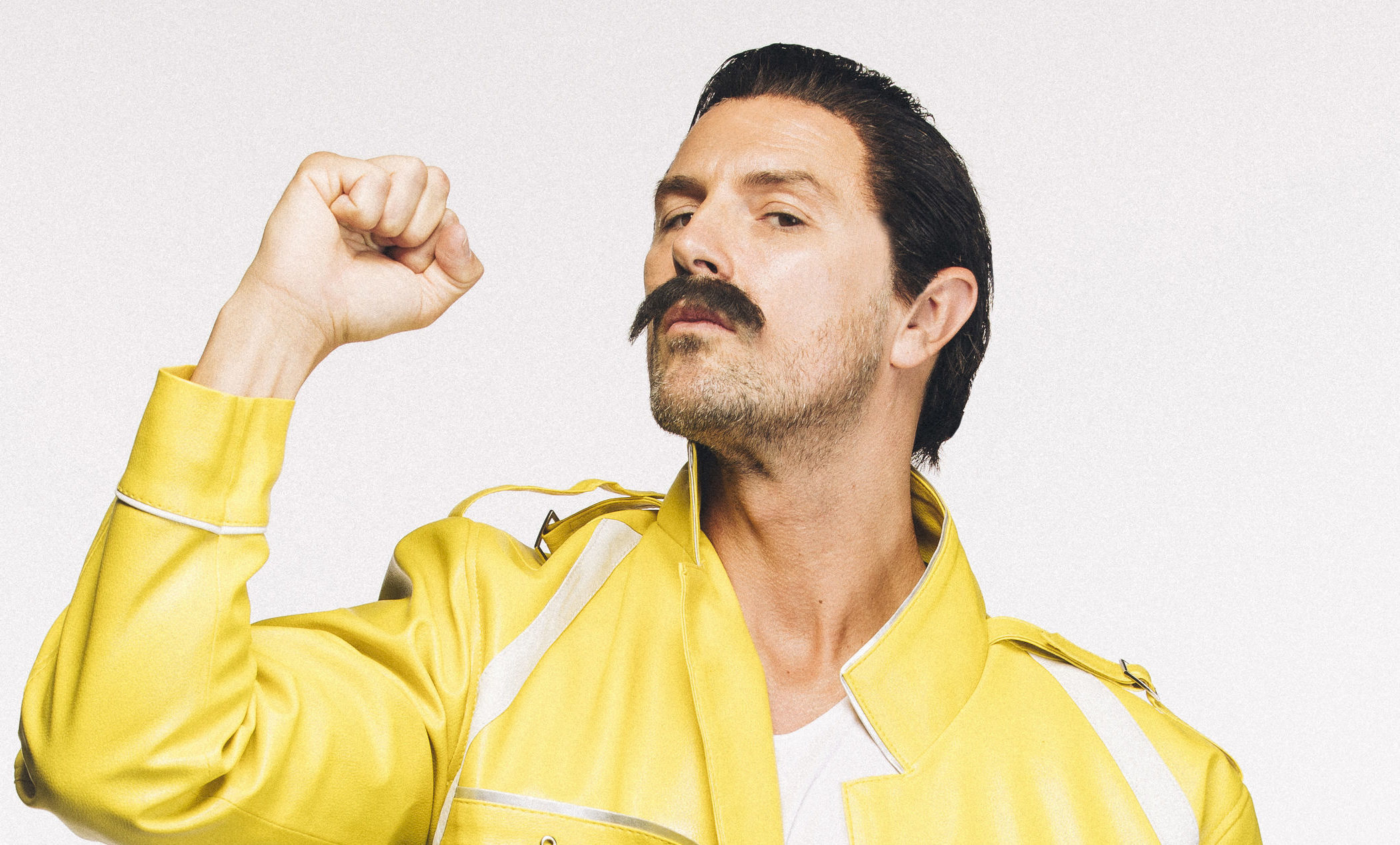 Paddy McGuiness recreating Freddie Mercury's moustache (Tom Dymond  / Movember)