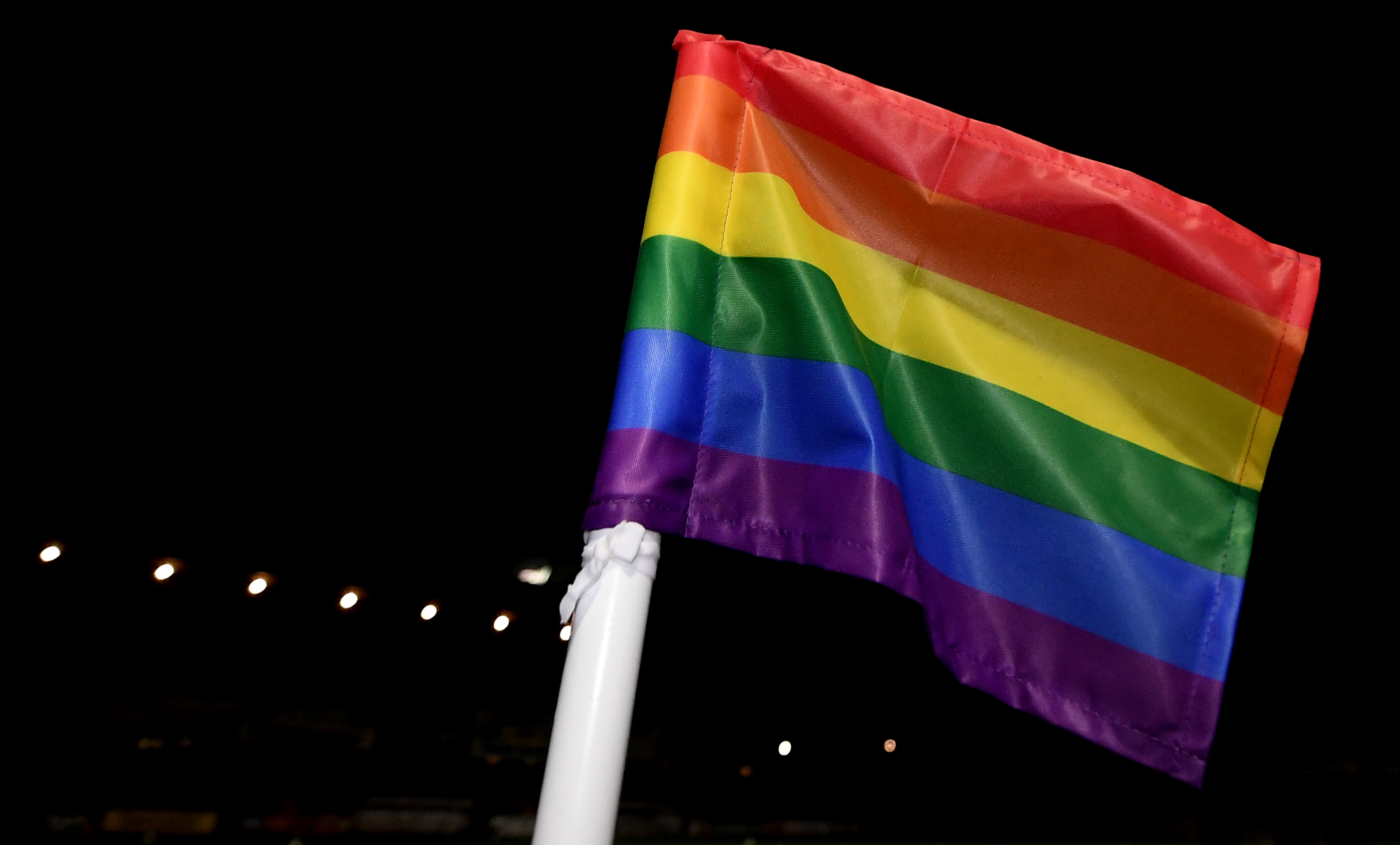 A corner flag pictured with the colours of the 'Stonewall Rainbow' campaign (Alex Davidson/Getty Images)