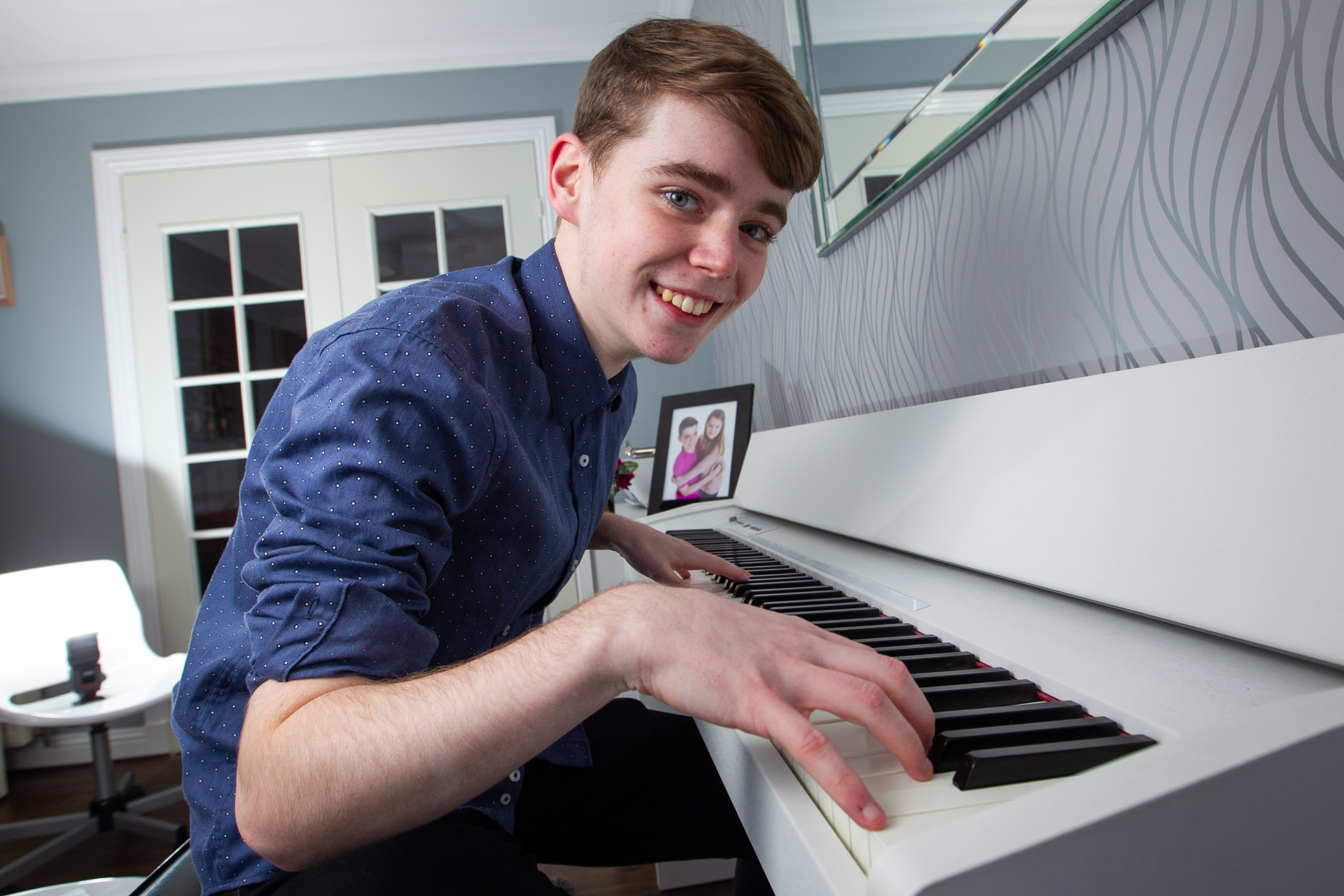 Brandon Stein, the teenager who plays a young Elton John in the new John Lewis Christmas advert. (Andrew Cawley).