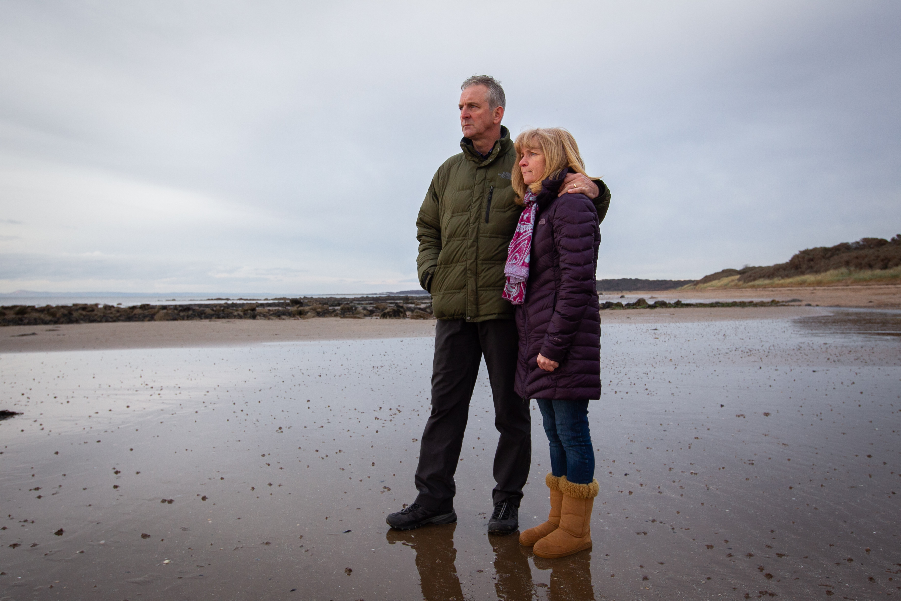 The parents of Scott Calder, the man who died after leaving Oktoberfest at Gosford House in Longniddry, and who's body was found in the early hours on Longniddry beach. (Andrew Cawley)