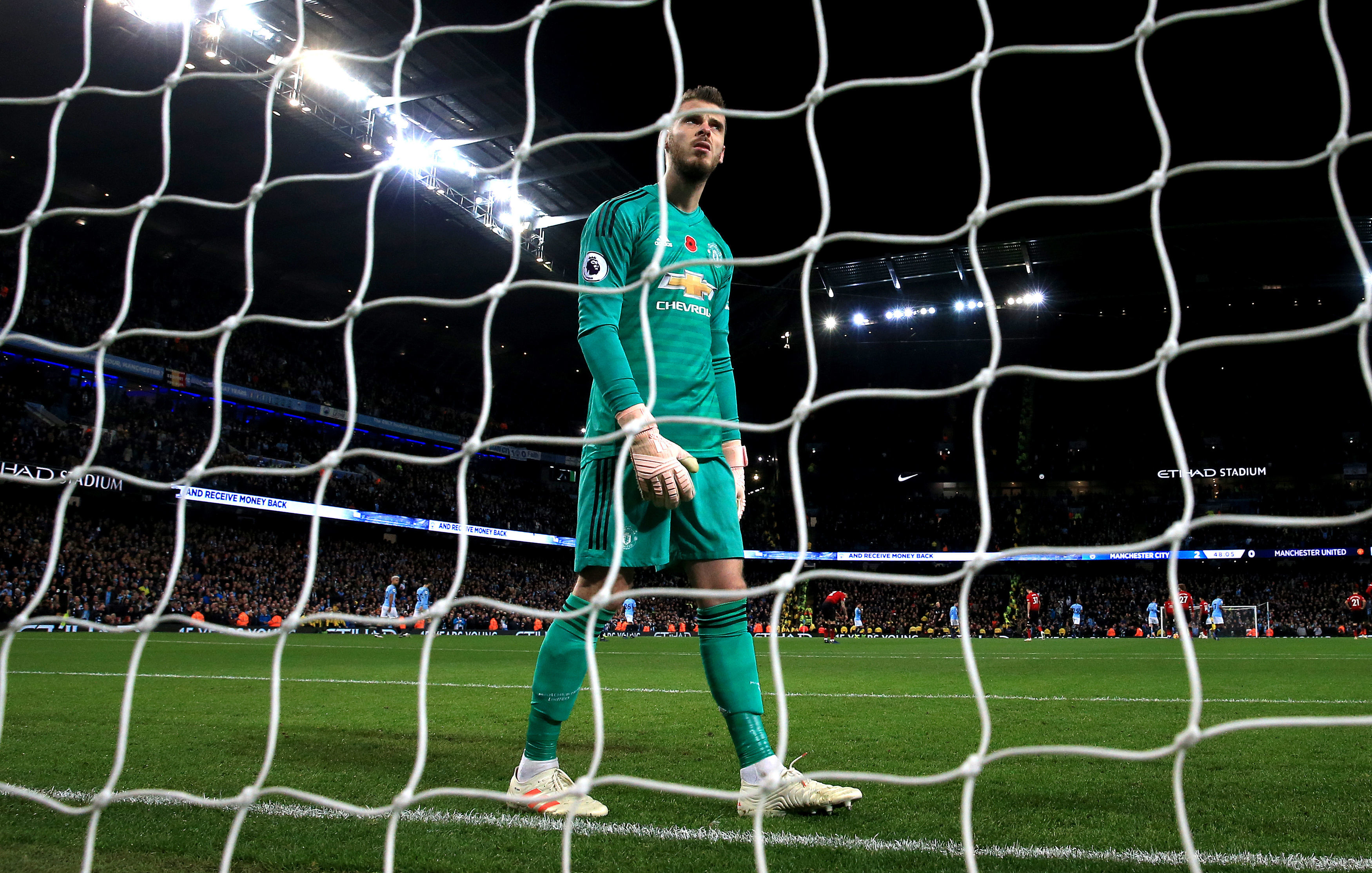 David De Gea is left dejected at the Etihad (Nick Potts/PA Wire)