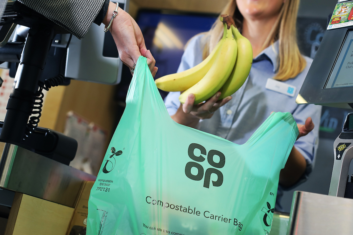 The new compostable carrier bag. (Neil O'Connor/UNP).