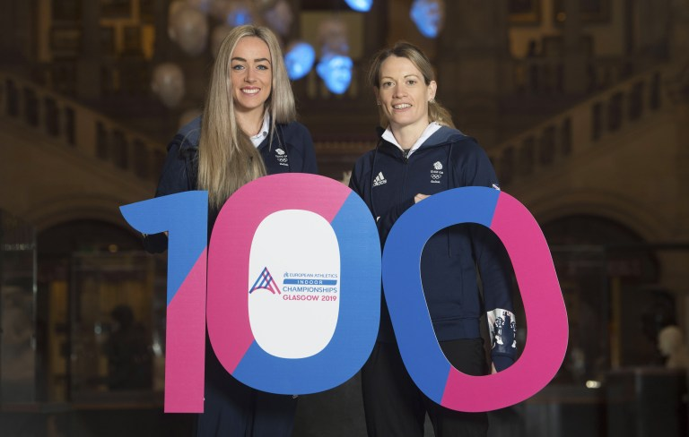 23/11/18 - 18112301 - GCC KELVINGROVE - GLASGOW Eilidh Doyle (R) and Eilish McColgan mark 100 Days to Go until the 35th European Athletics Indoor Championships in Glasgow.