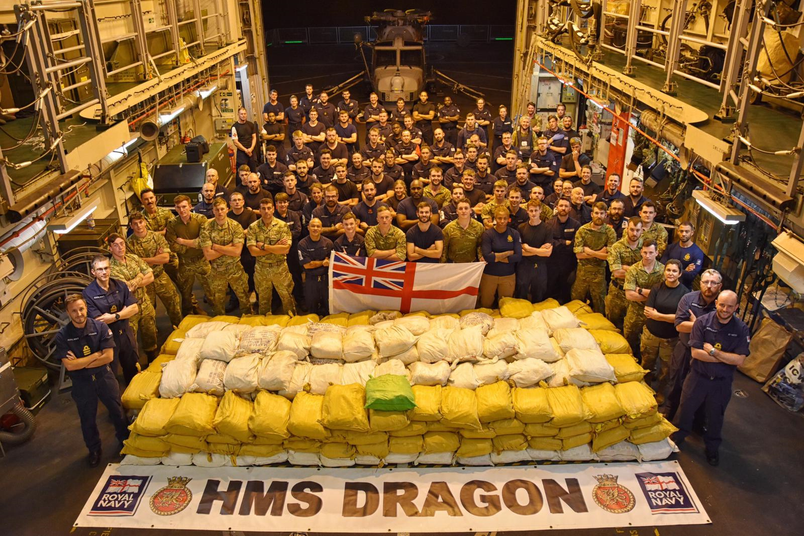 Members of the ship's company of Royal Navy warship HMS Dragon which seized and destroyed ten tonnes of drugs in the Gulf (Ministry of Defence/Crown Copyright/PA Wire)