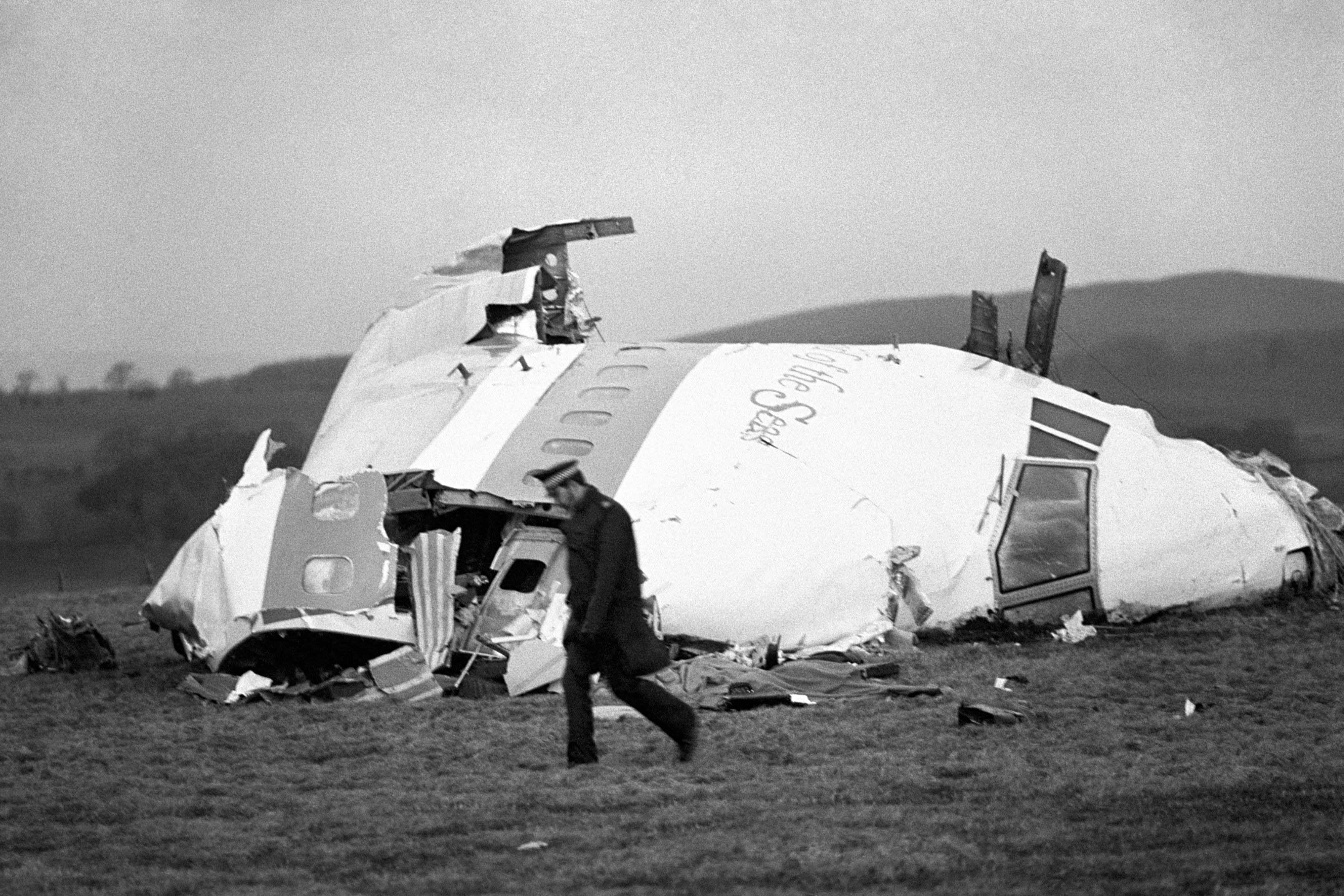 22 December 1988. The nose section of the crashed Pan Am jumbo jet in Lockerbie. (PA).