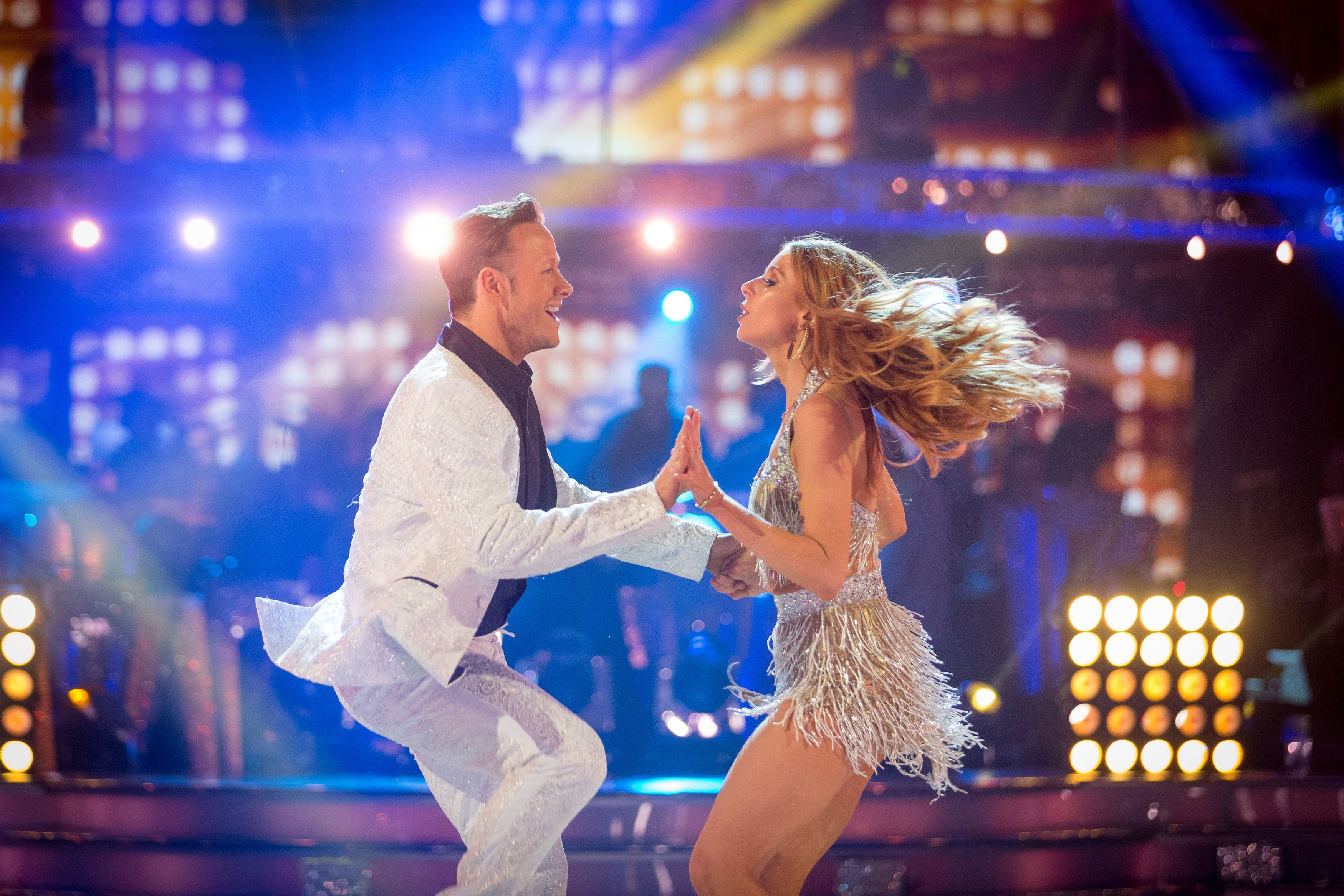 Stacey and partner Kevin last night. (BBC)