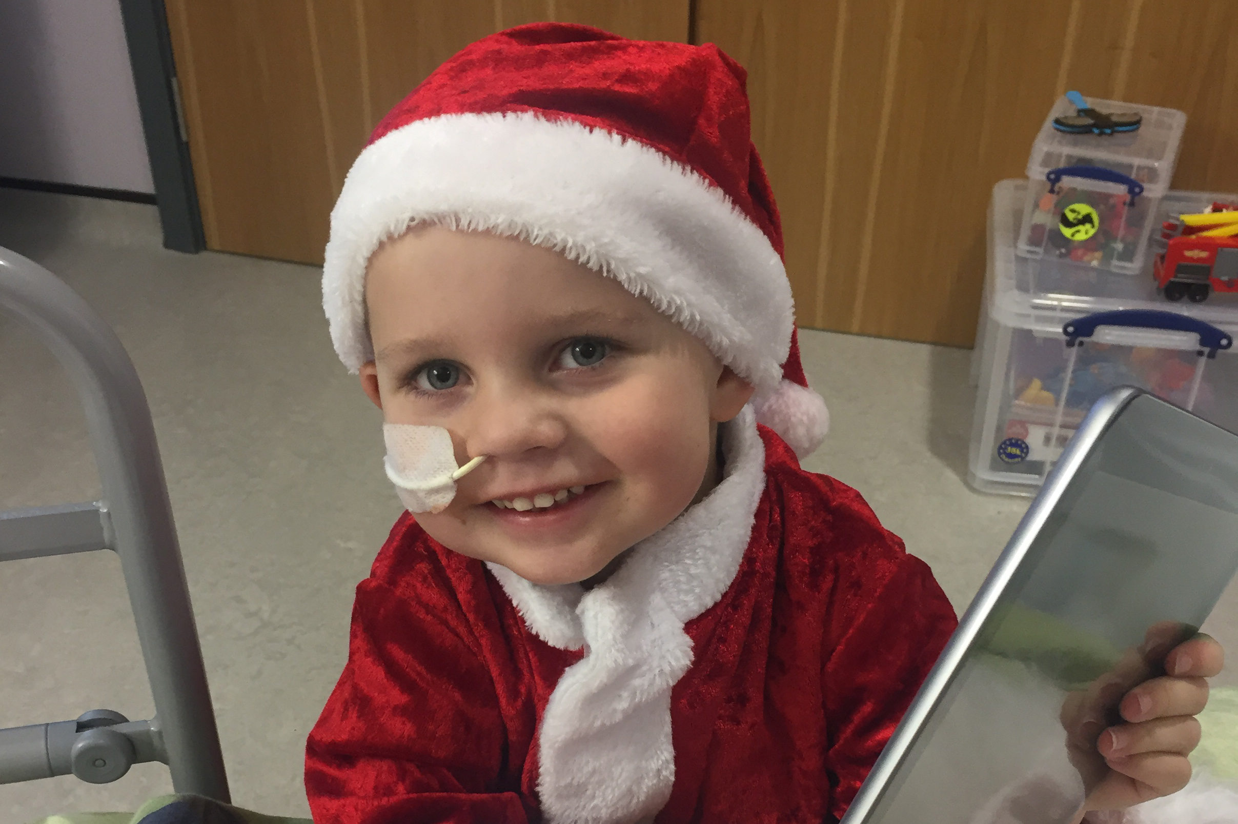 Callum Kyle, who is in the hospital for sick children in Glasgow. He is suffering from Leukaemia and so cannot spend Christmas with his sisters Emma and Erin in Crianlarich.