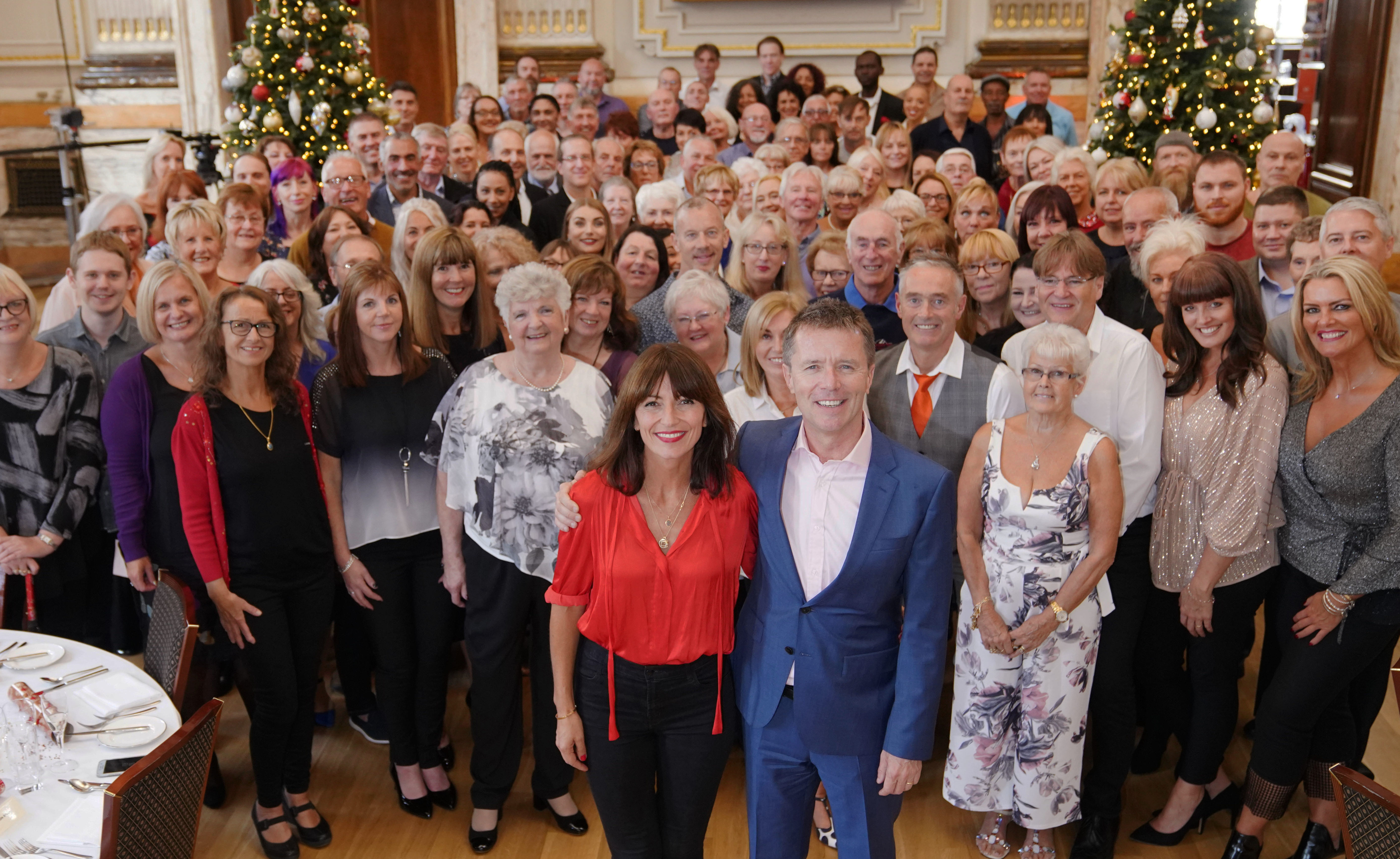 Davina McColl and Nicky Campbell with guests at the Long Lost Family Christmas lunch (ITV)