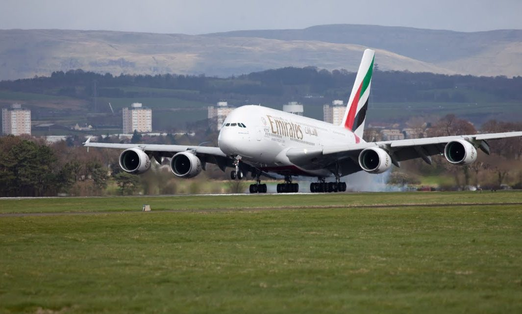 Airbus A380 landing at Glasgow Airport (Emirates)