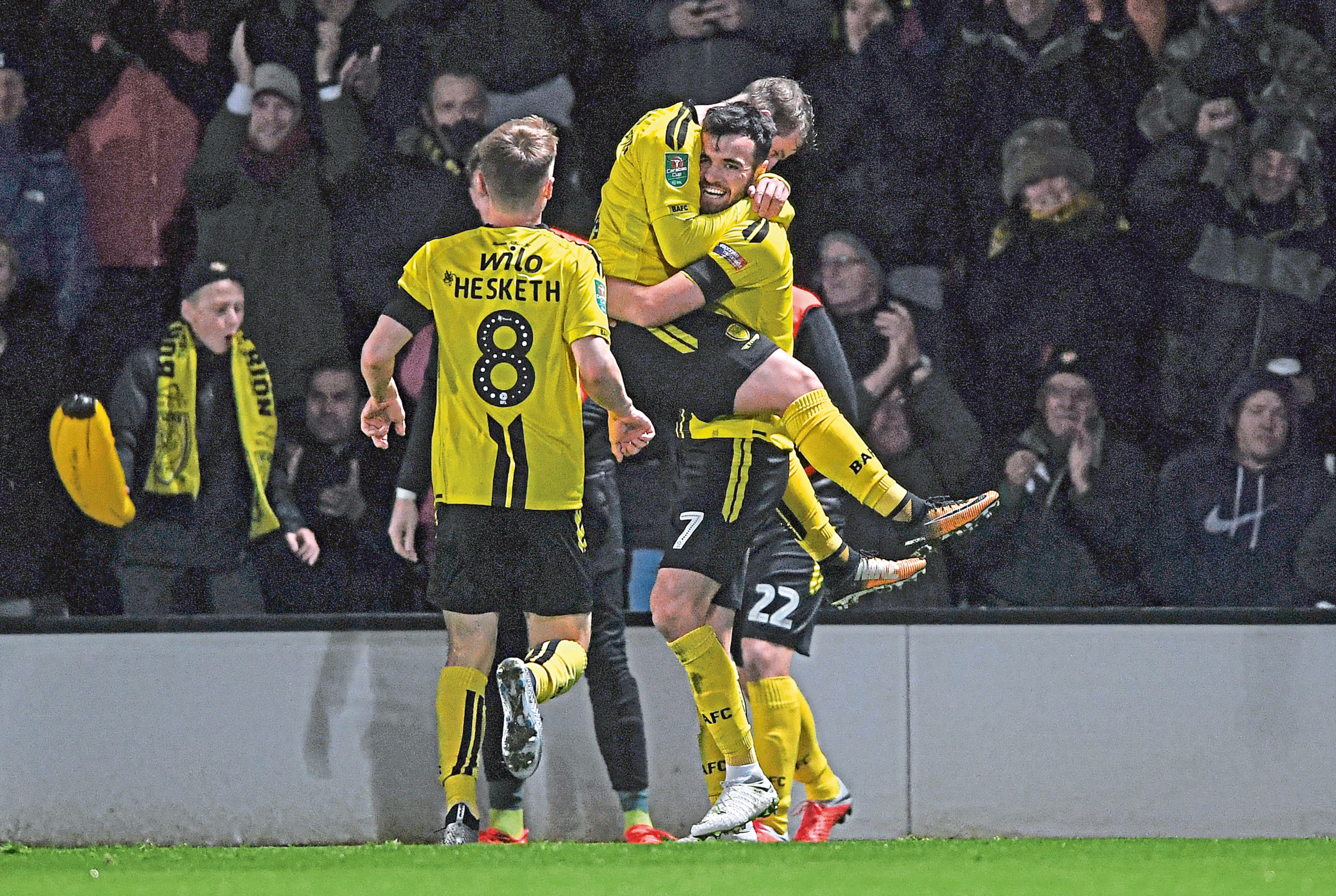 Scott Fraser of Burton Albion (7) celebrates after scoring his team's second goal against Nottingham Forest (Laurence Griffiths/Getty Images)