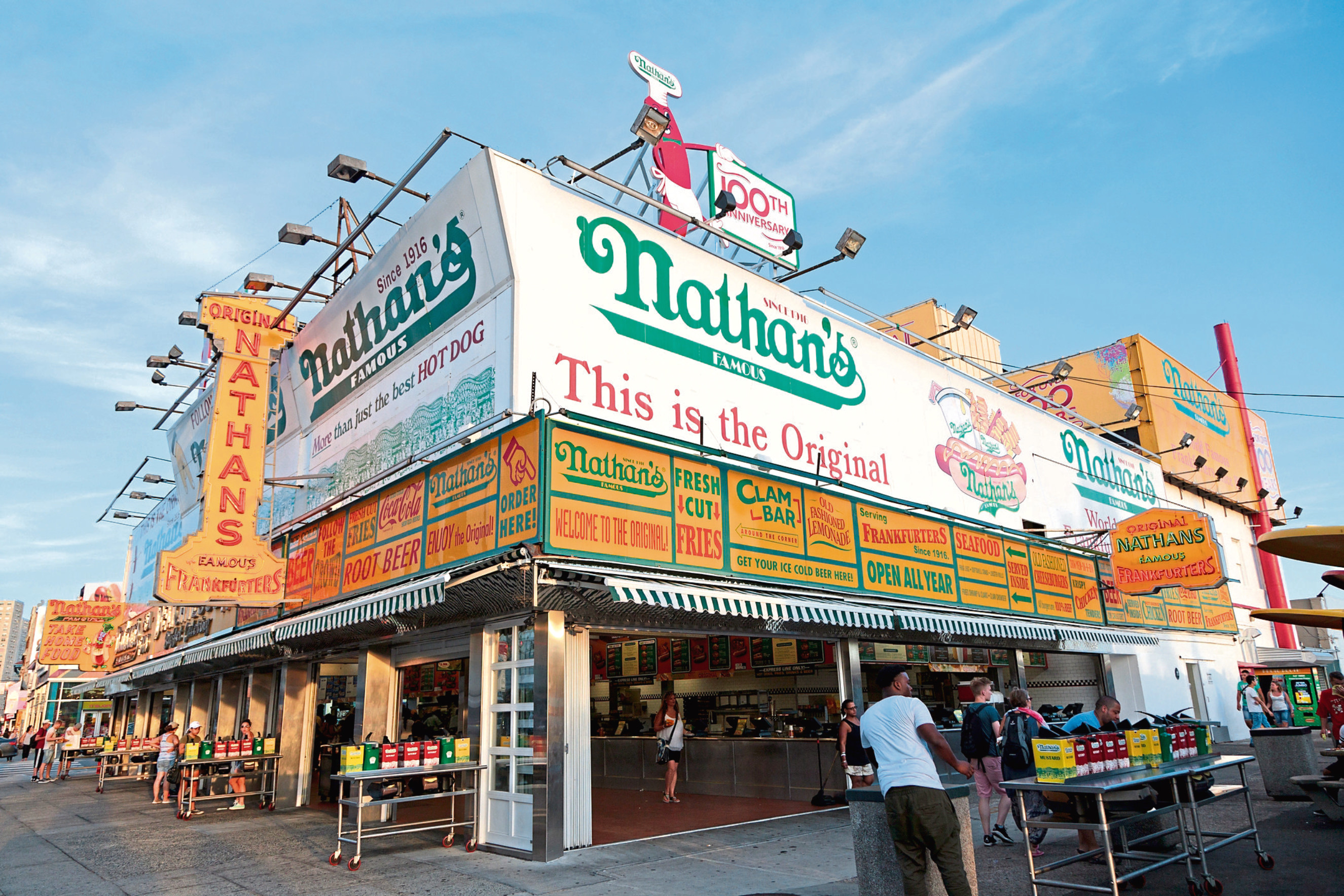 The Nathan's original restaurant at Coney Island. The original Nathan's still exists on the same site that it did in 1916.