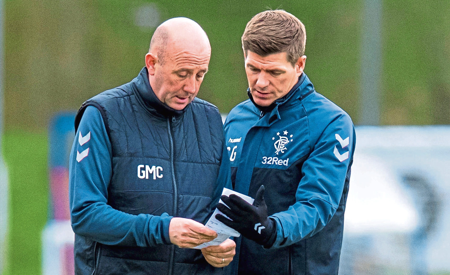 Rangers manager Steven Gerrard and assistant Gary McAllister (SNS Group)