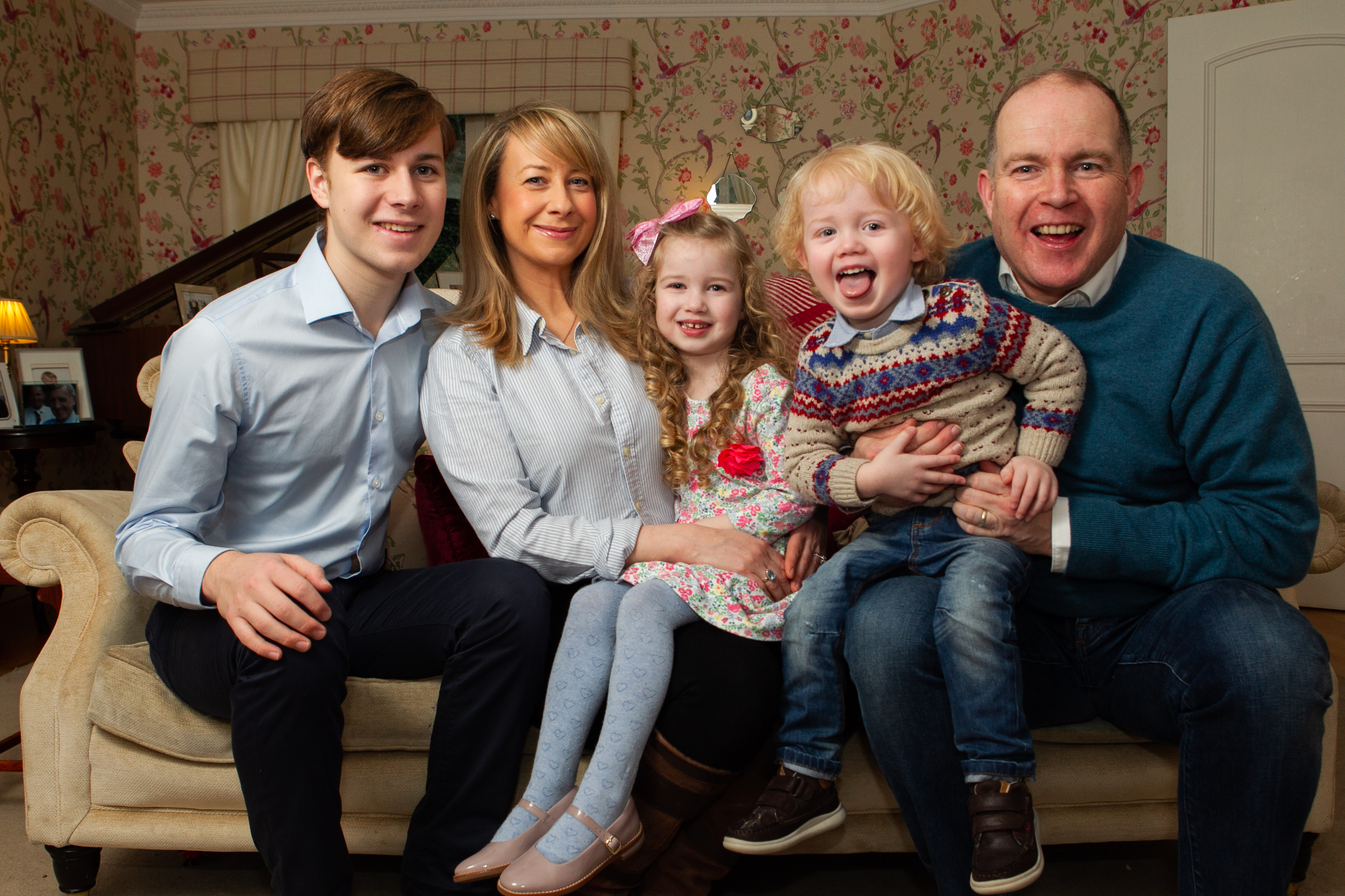 The Dickson family, mother and father Kirsteen and Steve, and children Hamish (16), Millie (4) and Alfie (2). (Andrew Cawley)
