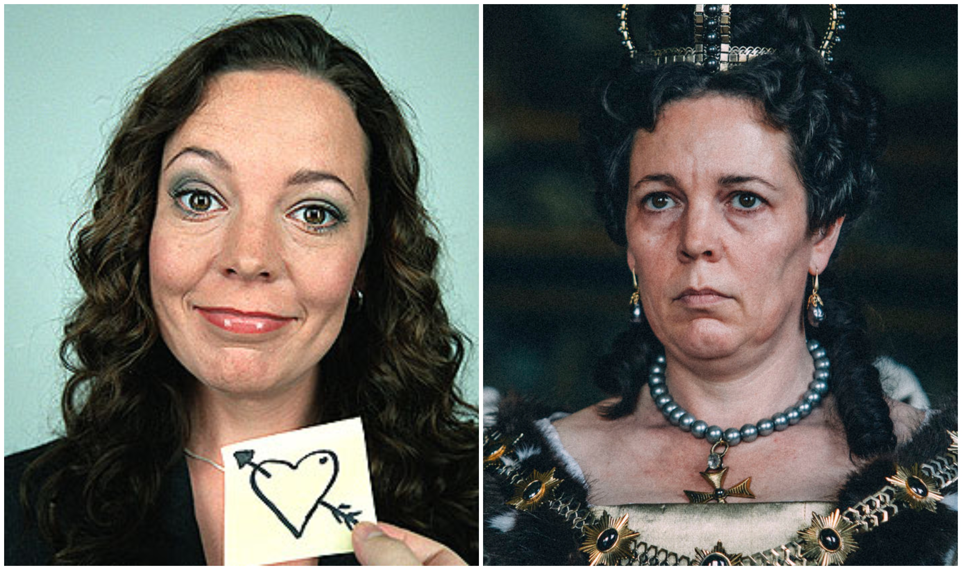 Olivia Colman in Peep Show (left) and in The Favourite