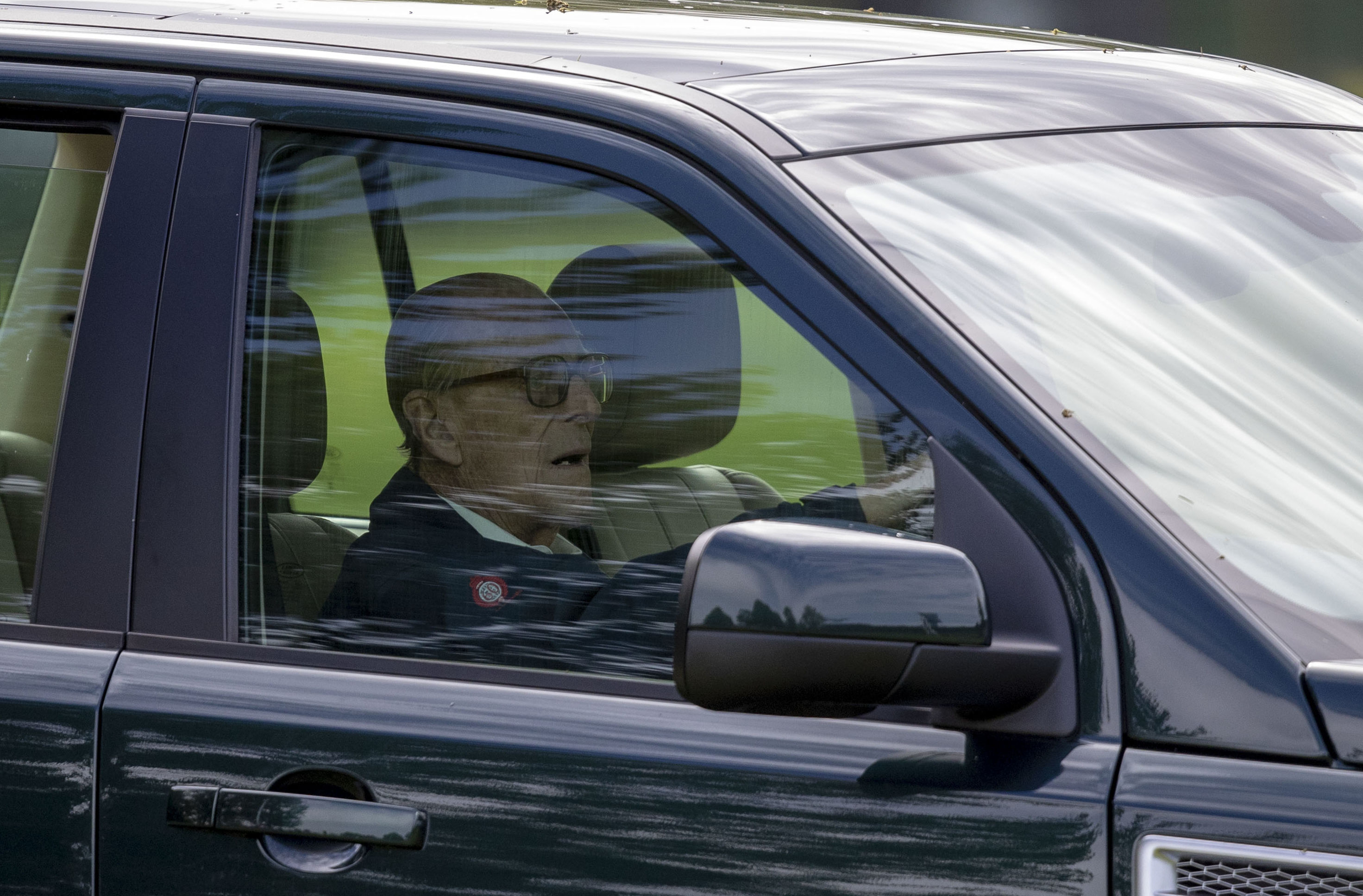 "The Duke of Edinburgh, 97, was left ""very shocked"" and shaken when the Land Rover Discovery he was driving was hit by a Kia as he drove near the Queen's Sandringham estate on Thursday afternoon. Here pictured at the wheel of a similar vehicle during the Royal Windsor Horse Show.  (Steve Parsons/PA Wire)"
