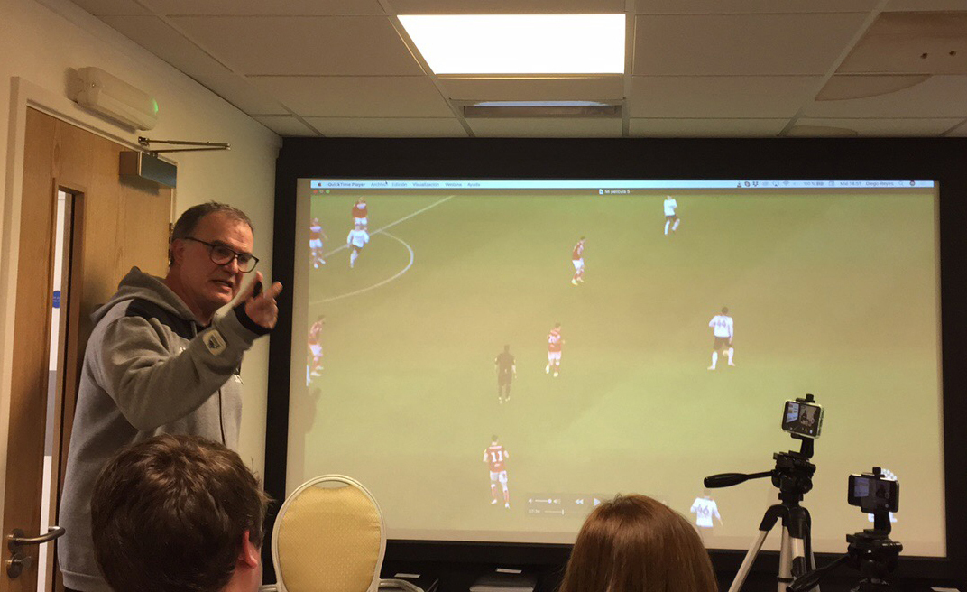 Marcelo Bielsa hosted an opposition analysis session for the media (Mark Walker/PA Wire)