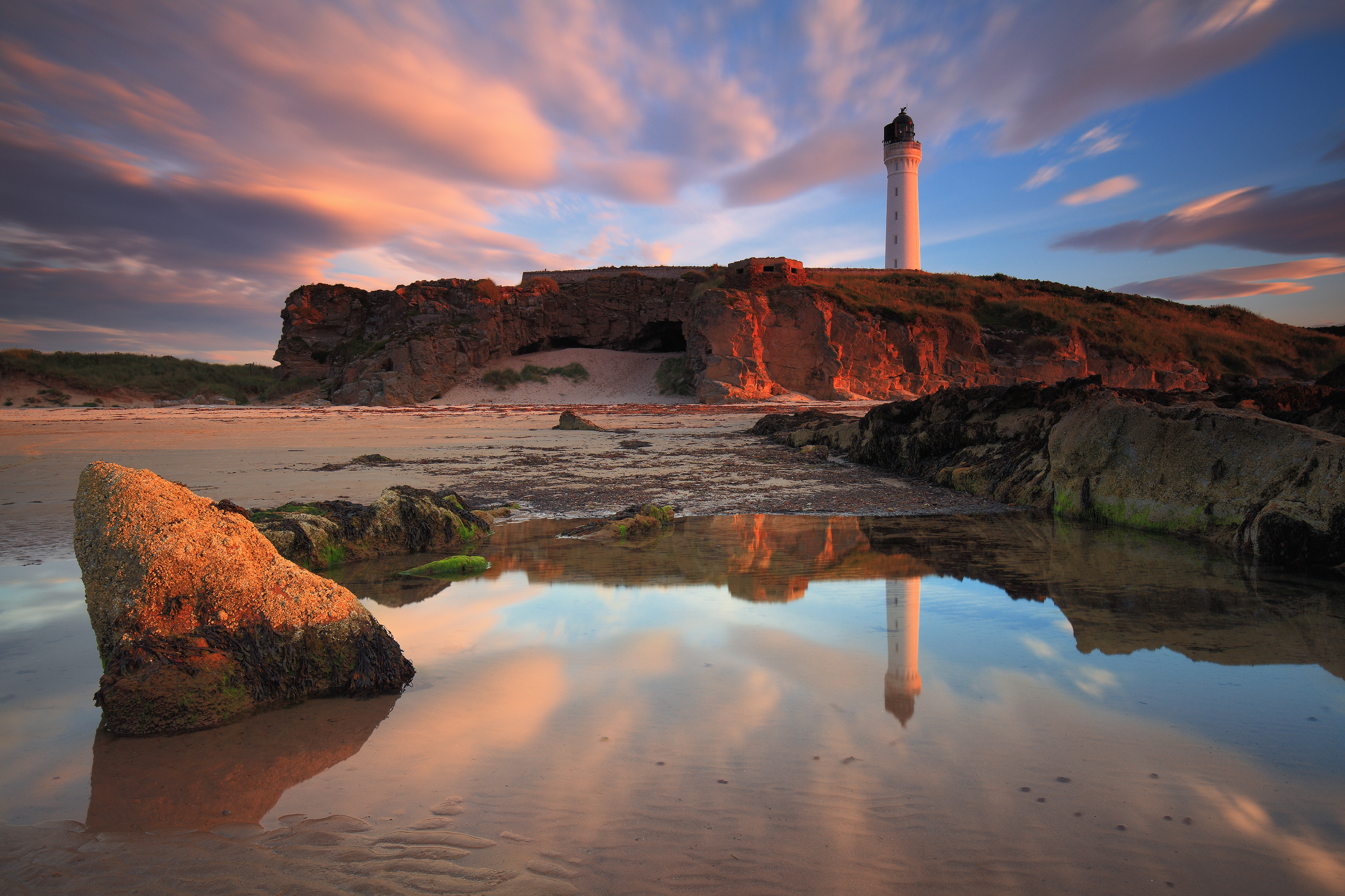 Amazing sunset over the Lossiemouth lighthouse in Moray.
