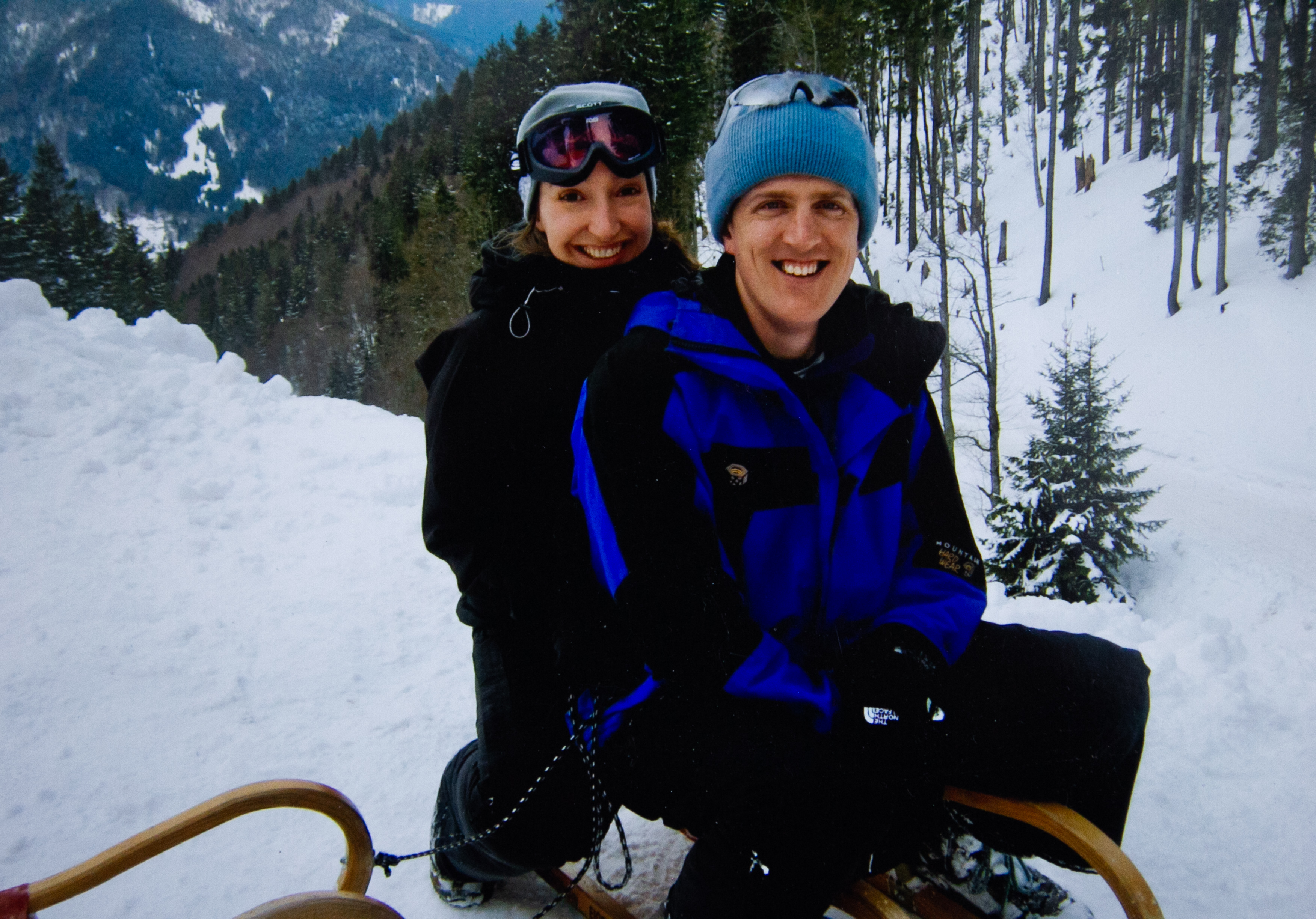 Julie Galante, with late husband Scott in the Bavarian Alps, 2011