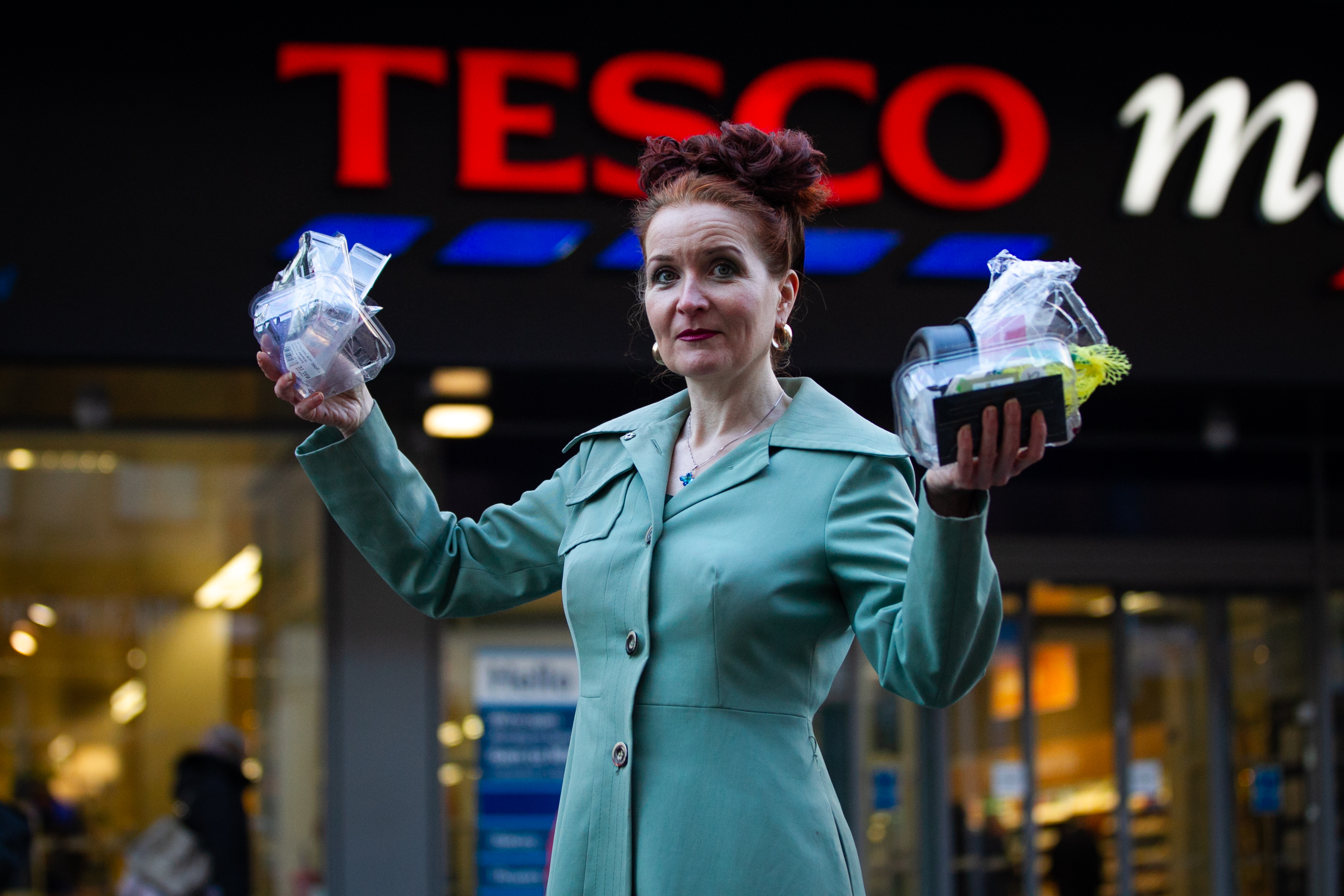 Madeline Warren, takes back plastic packaging to Tesco (and other supermarkets) after she has bought it (Andrew Cawley / DCT Media)