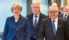 European Commission President Jean-Claude Juncker, British Prime Minister Theresa May and European Union chief Brexit negotiator Michel Barnier