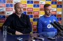 Kilmarnock manager Steve Clarke (L) and Kris Boyd speak to the media following incidents of sectarian abuse in the past week