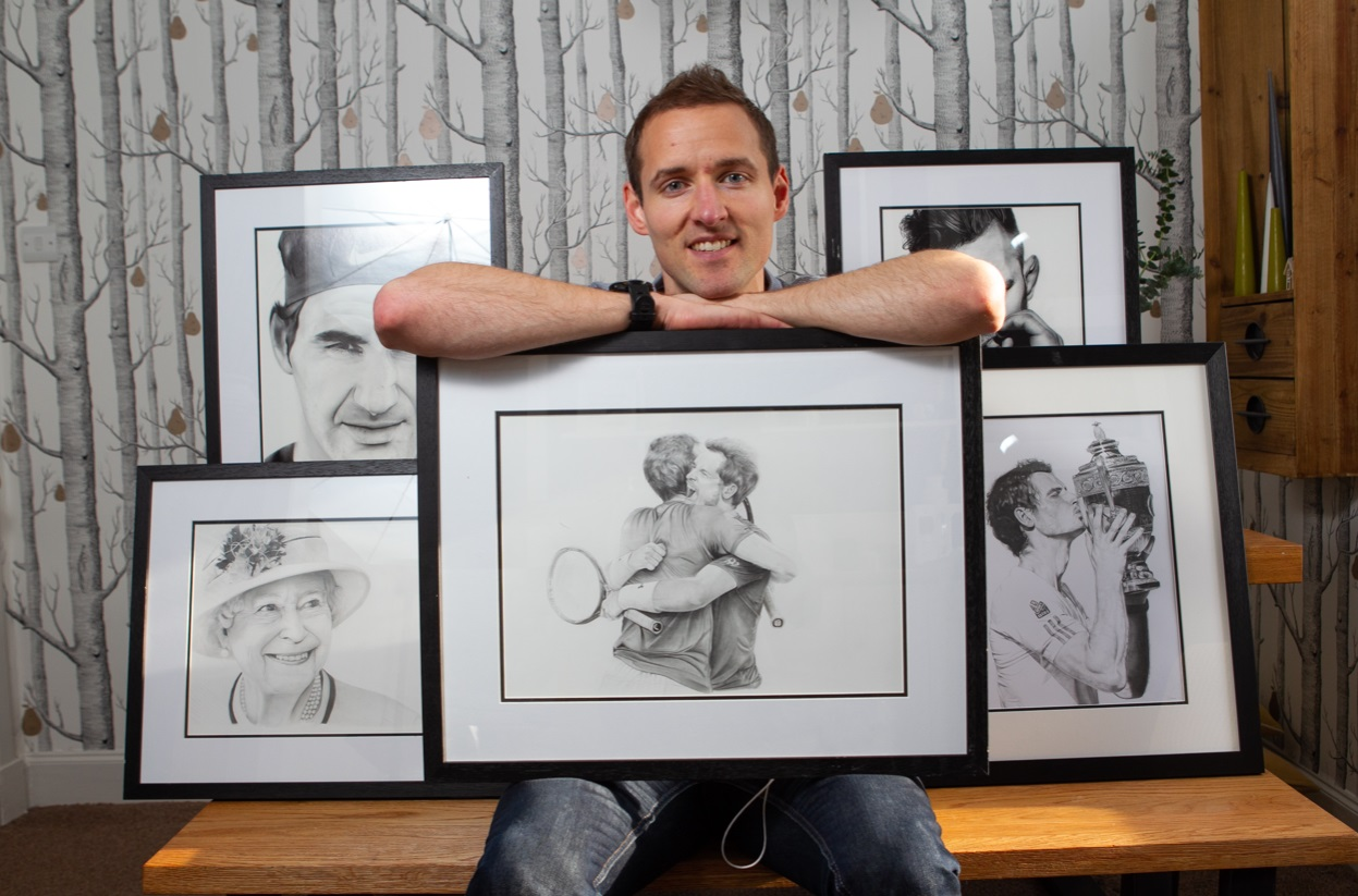 Artist Stuart Scott with his creations.