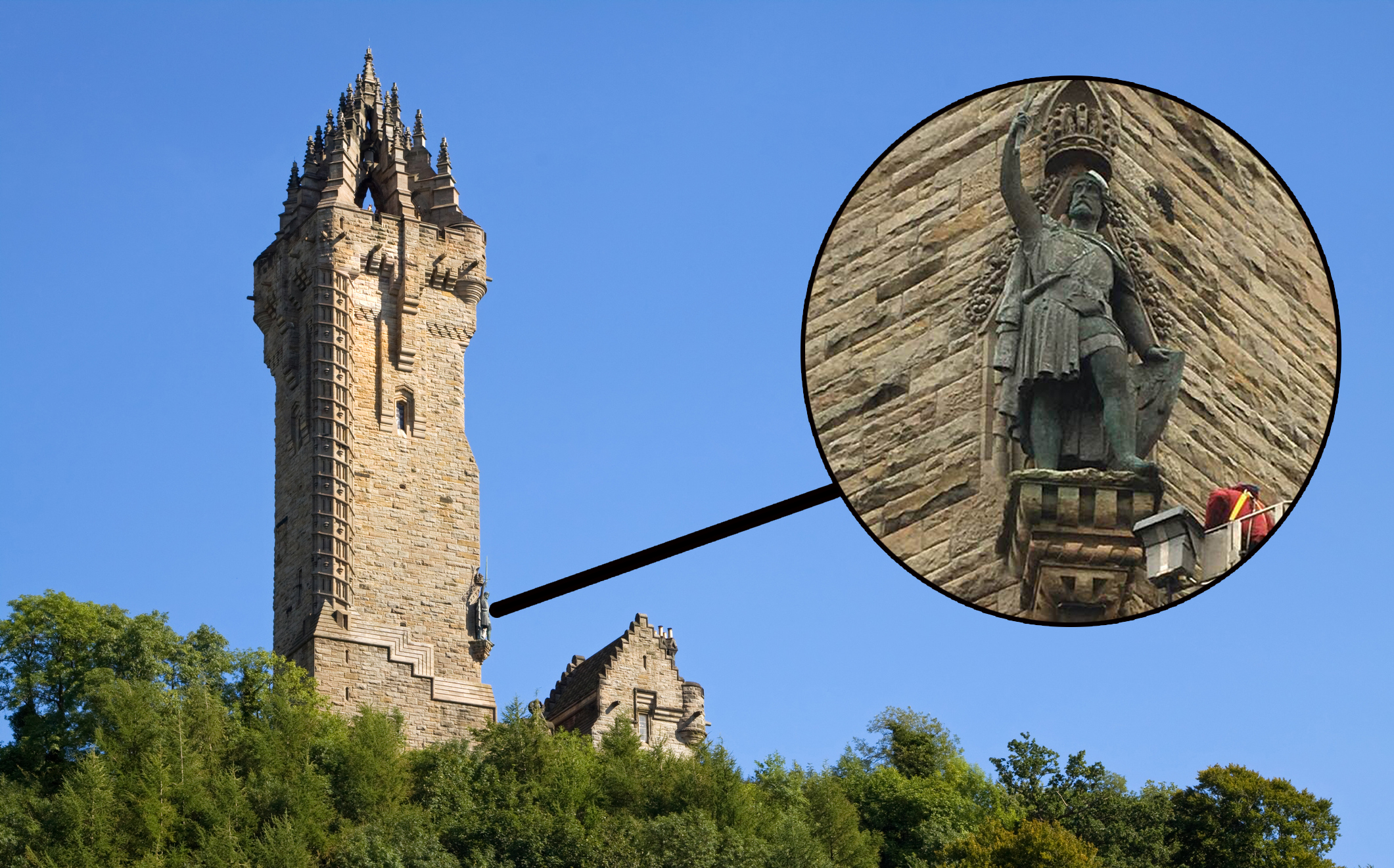 The statue on the side of the Wallace Monument in Stirling (Getty Images)