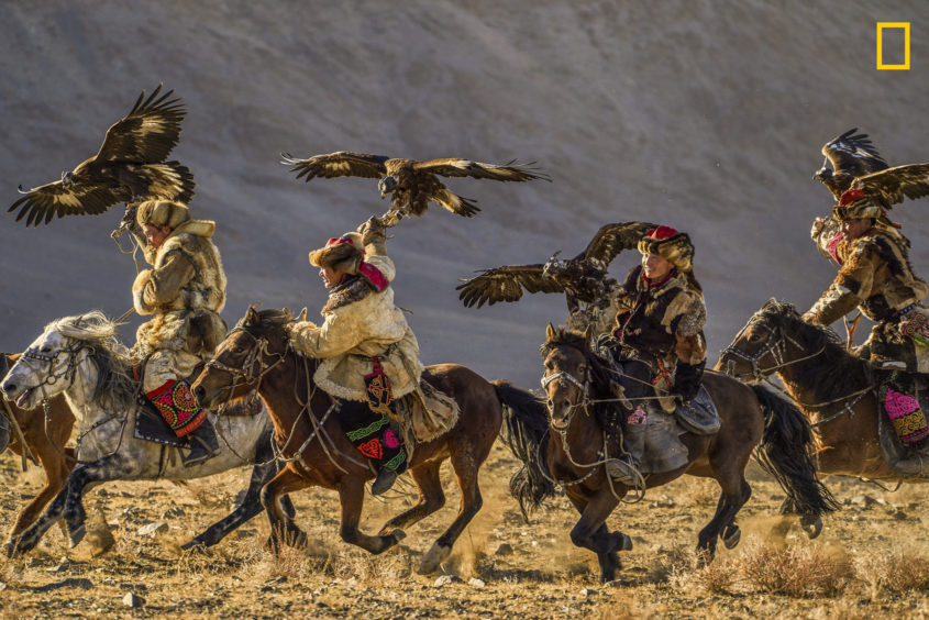 PHOTO AND CAPTION BYTIHOMIR TRICHKOV/ 2019 NATIONAL GEOGRAPHIC TRAVEL PHOTO CONTESTParticipants in the annual Golden Eagle Festival, show off their skills. The festival is held in Bayan-Ölgii aimag, West Mongolia. The eagle hunters are celebrating their Kazakh heritage and compete to catch small animals such as rabbits and foxes. Eagle hunting has been practiced in CentralAsia for thousands of years, although nowadays it is preserved only in the Kazakh culture where the traditions are still alive andwell kept.