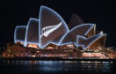 A silver fern is projected onto the sails of Sydney Opera House in commemoration of the victims of the Christchurch massacre