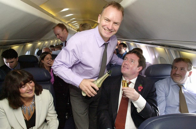 Sting serves Piers Morgan with champagne on board Concorde