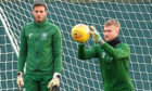 Celtic's Scott Bain (R) with Craig Gordon at training