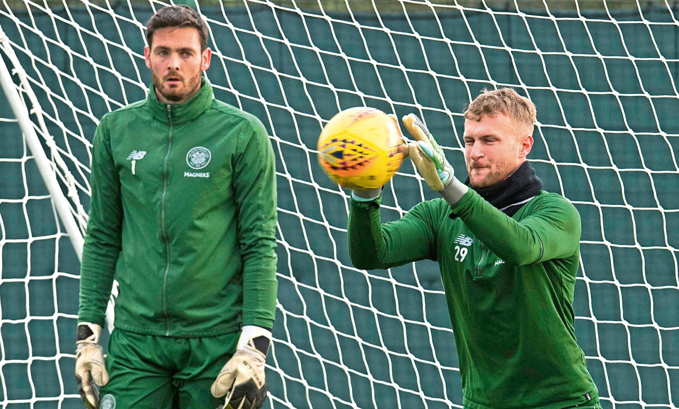 Celtic's Scott Bain (R) with Craig Gordon at training