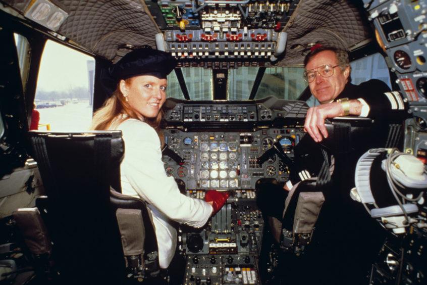 The Duchess of York on the flight deck, 1987