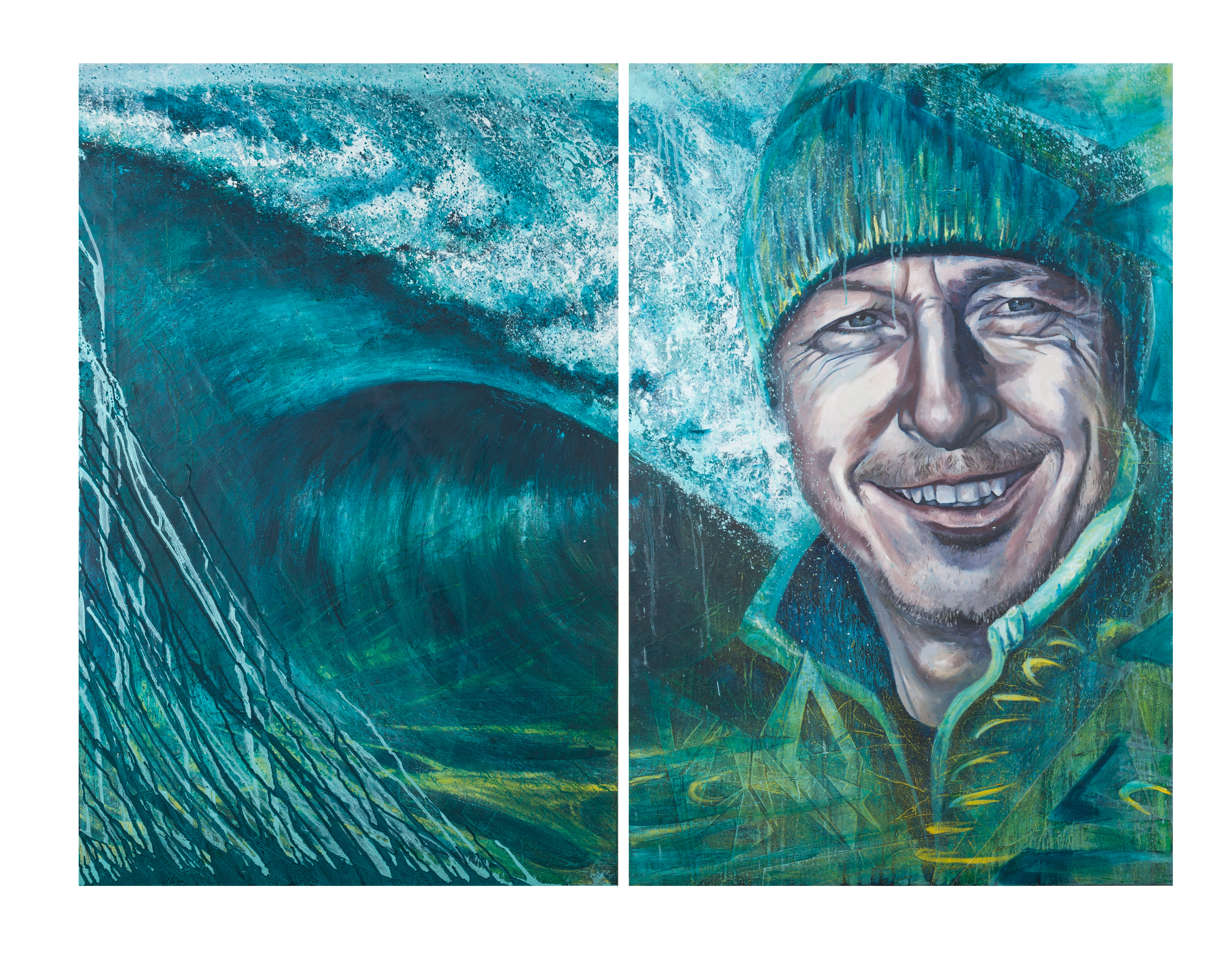 Laura Maynard paints diptychs of local Hebridean surfers for new exhibition, Wave Migration.