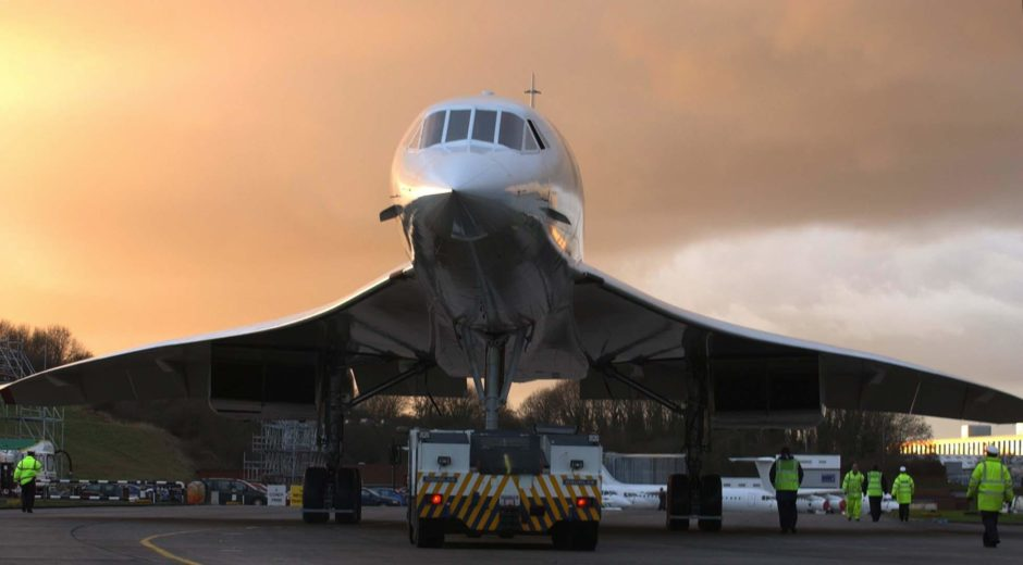 The sun sets on Concorde after the final flight into Filton, Bristol, where it was built