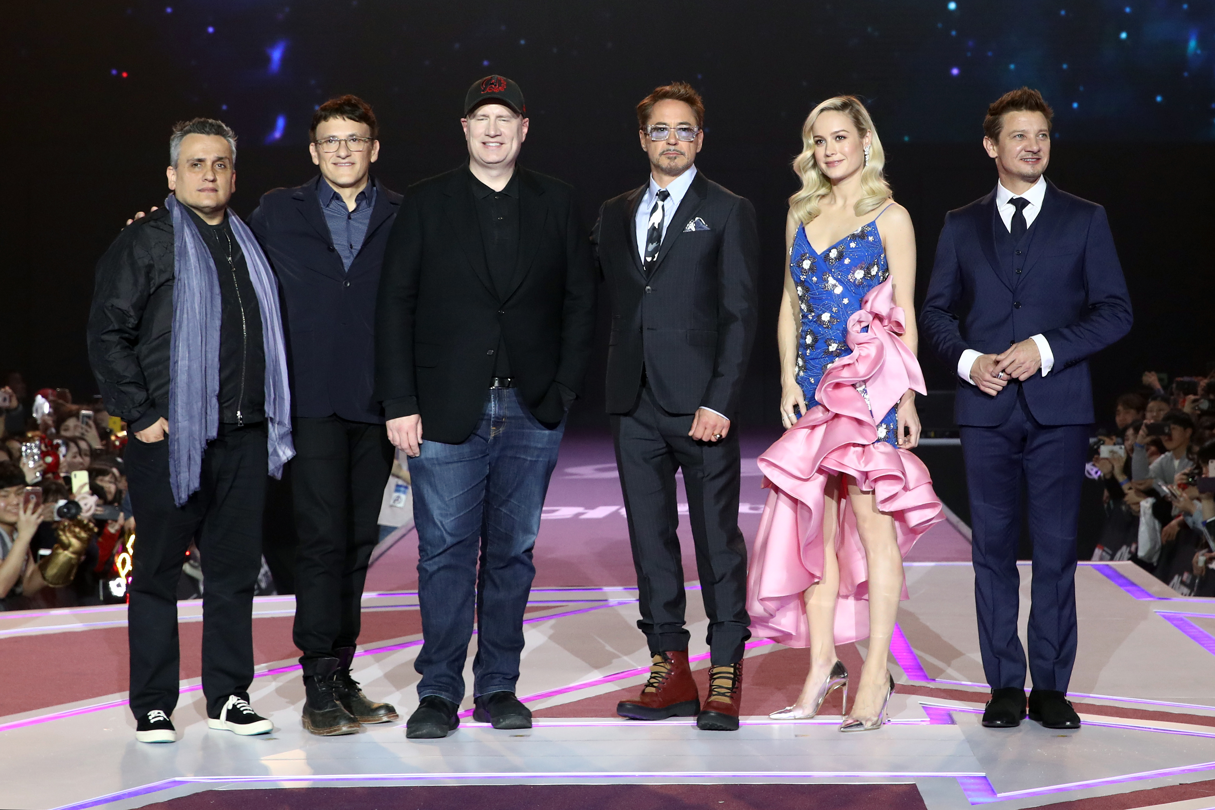 Joe Russo, Anthony Russo, Kevin Feige, Robert Downey Jr., Brie Larson and Jeremy Renner (left to right) attend the fan event for Endgame's South Korea premiere
