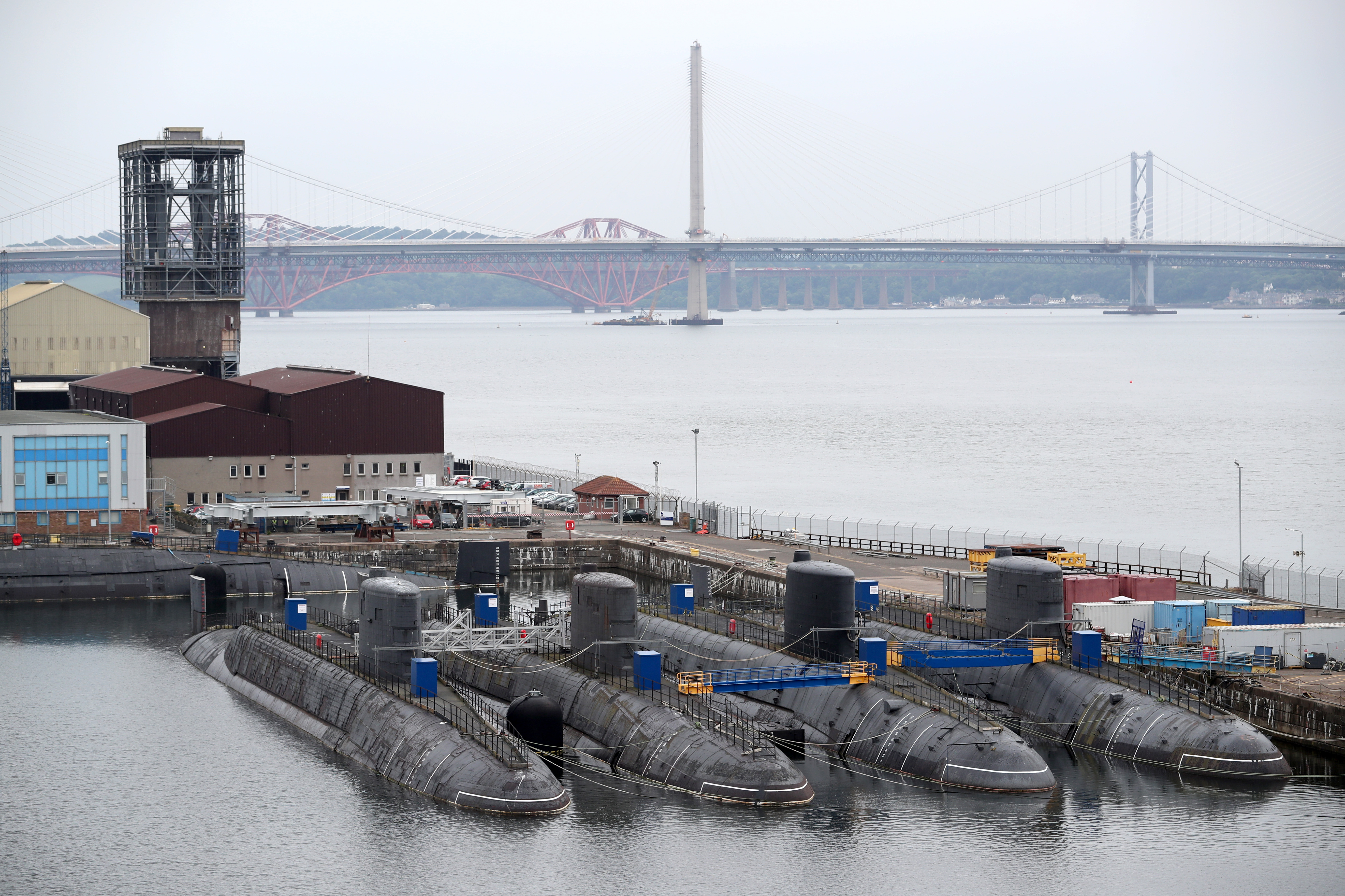 Decommissioned nuclear submarines at Rosyth Dockyard, Fife