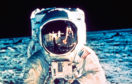 Neil Armstrong, seen reflected in Buzz Aldrin's visor