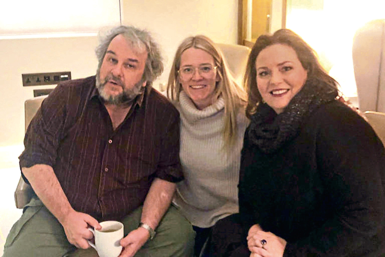 Peter Jackson (left) and Philippa Boyens (right) with Edith Bowman for her Soundtracking podcast