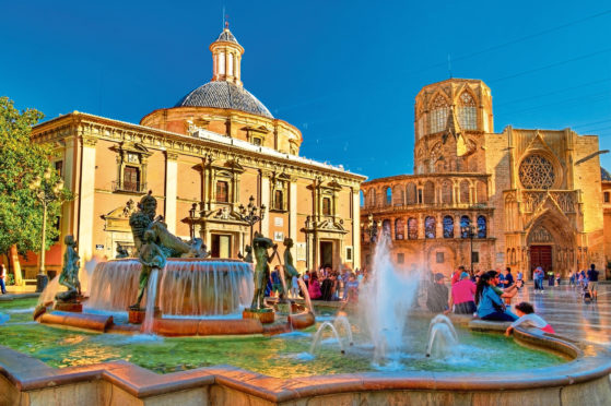 Square of Saint Mary and fountain Rio Turia in Valencia