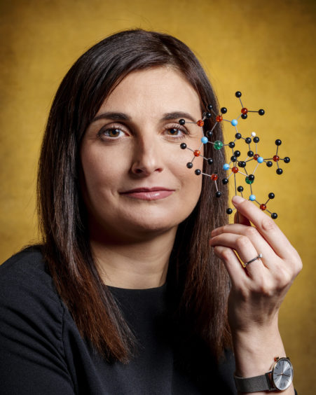 SPAIN: Prof Eva Hevia FRSC FRSE, University of Strathclyde, a synthetic chemist whose research focuses on finding new tools that enable the construction of useful molecules of relevance to the pharmaceutical industry.  Eva is holding a Schlenk flask, a special type of glassware essential when working with compounds that are air and moisture sensitive